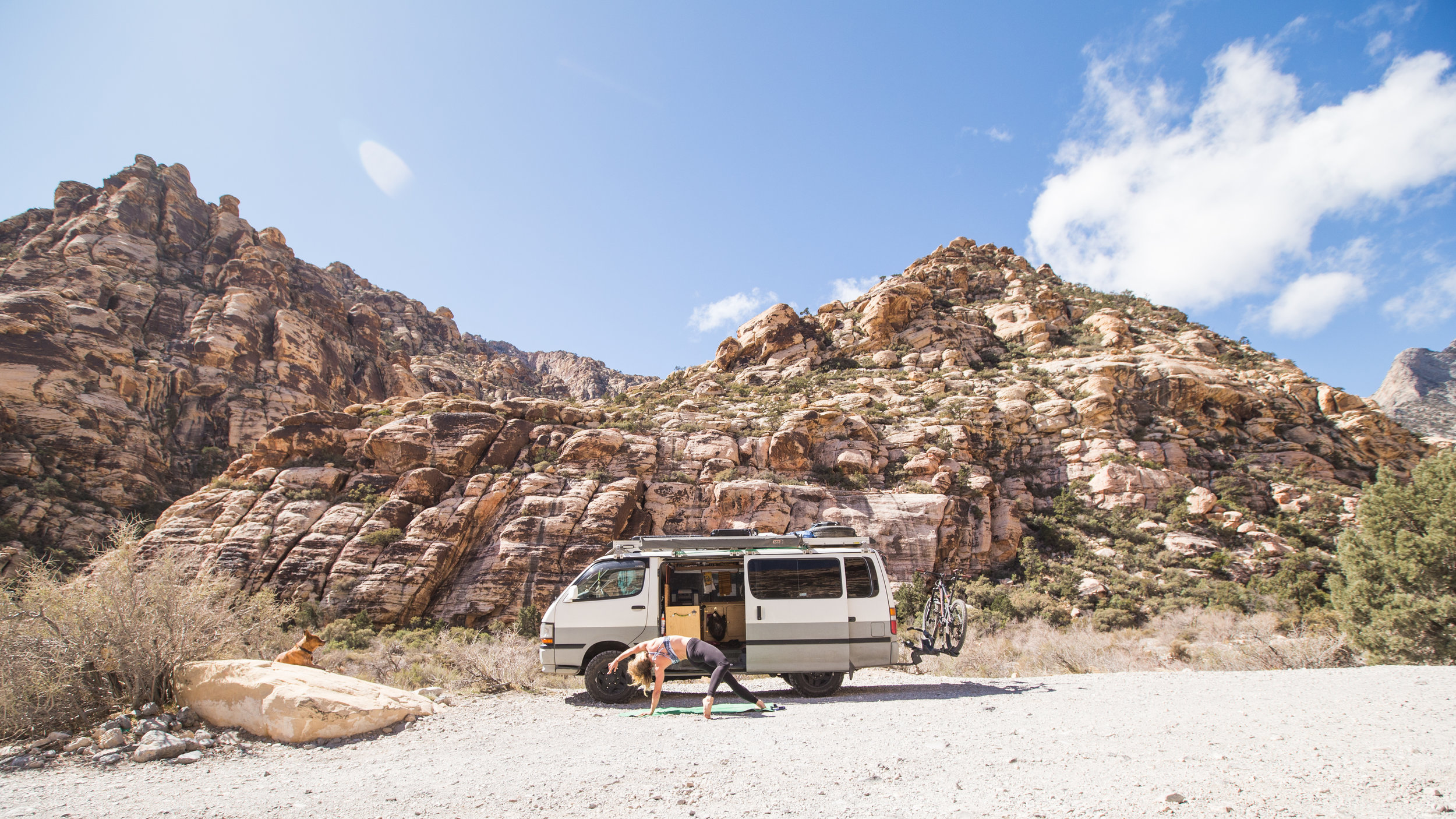 Van yoga at its finest in Red Rock Canyon.
