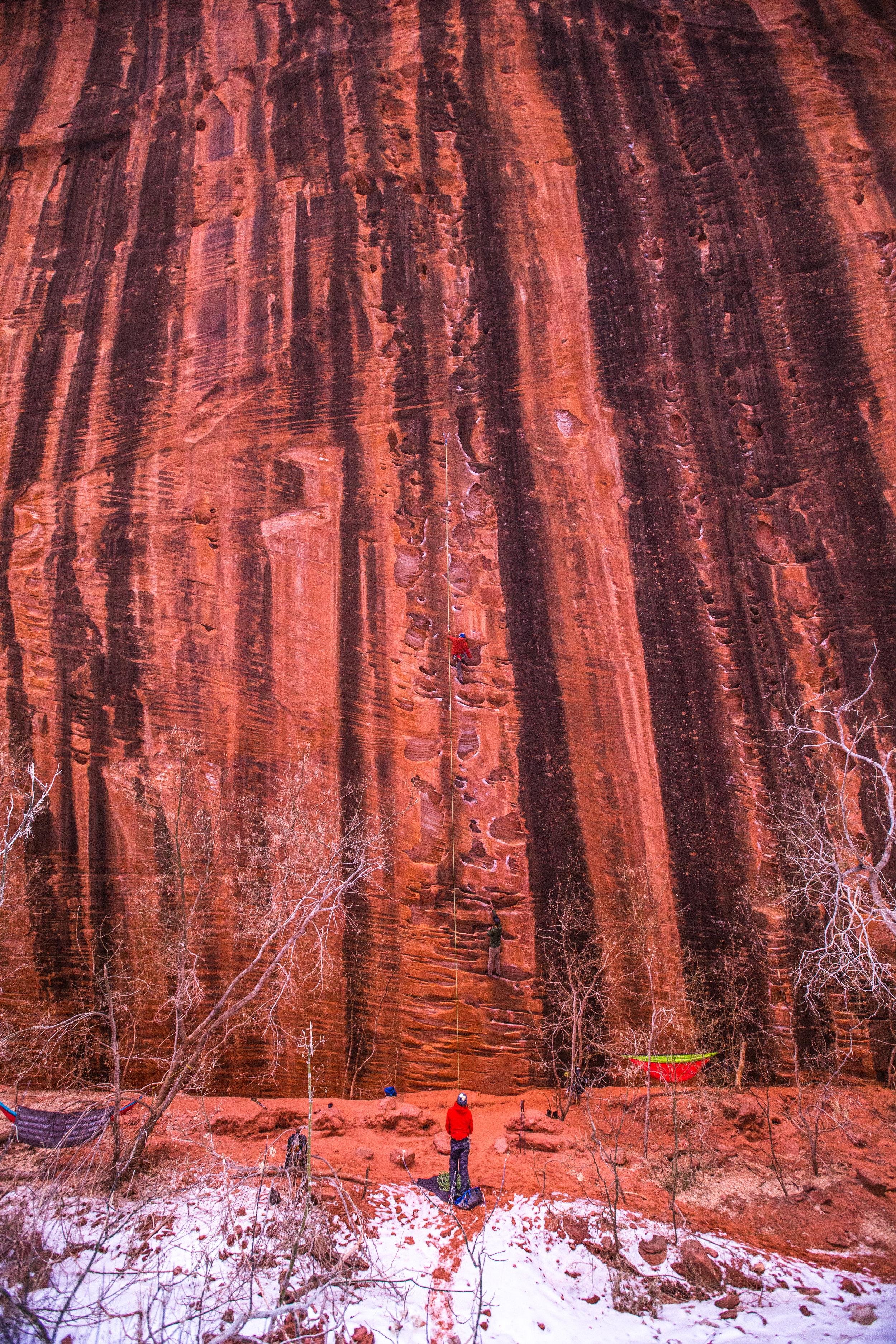 Catching climbing beta in Kolob Canyon, Utah.