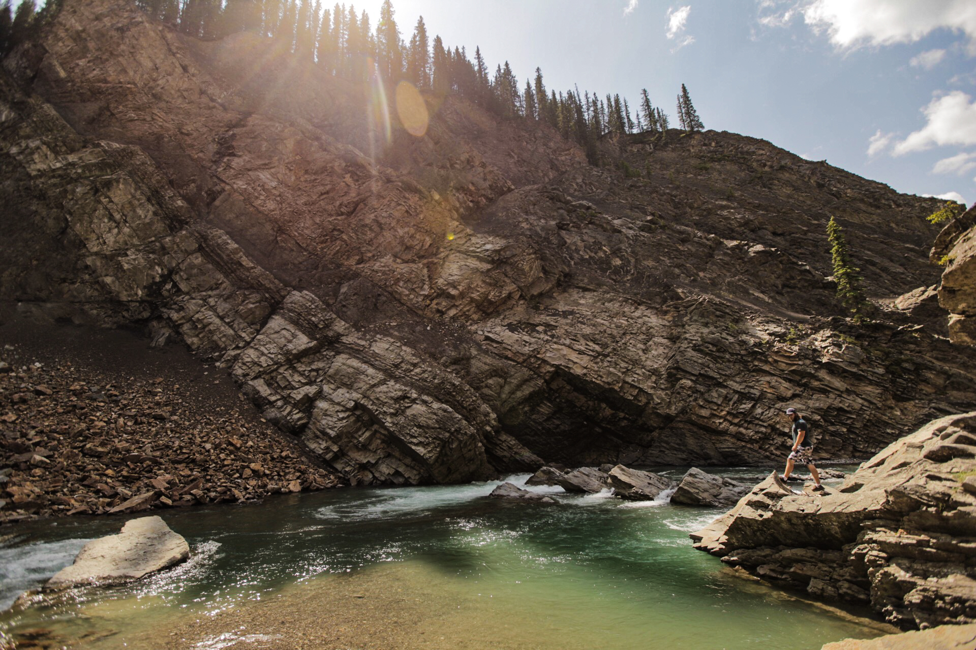Alec and I made the trek down to the rivers edge and then up river to get a swim at the base of Ram Falls.