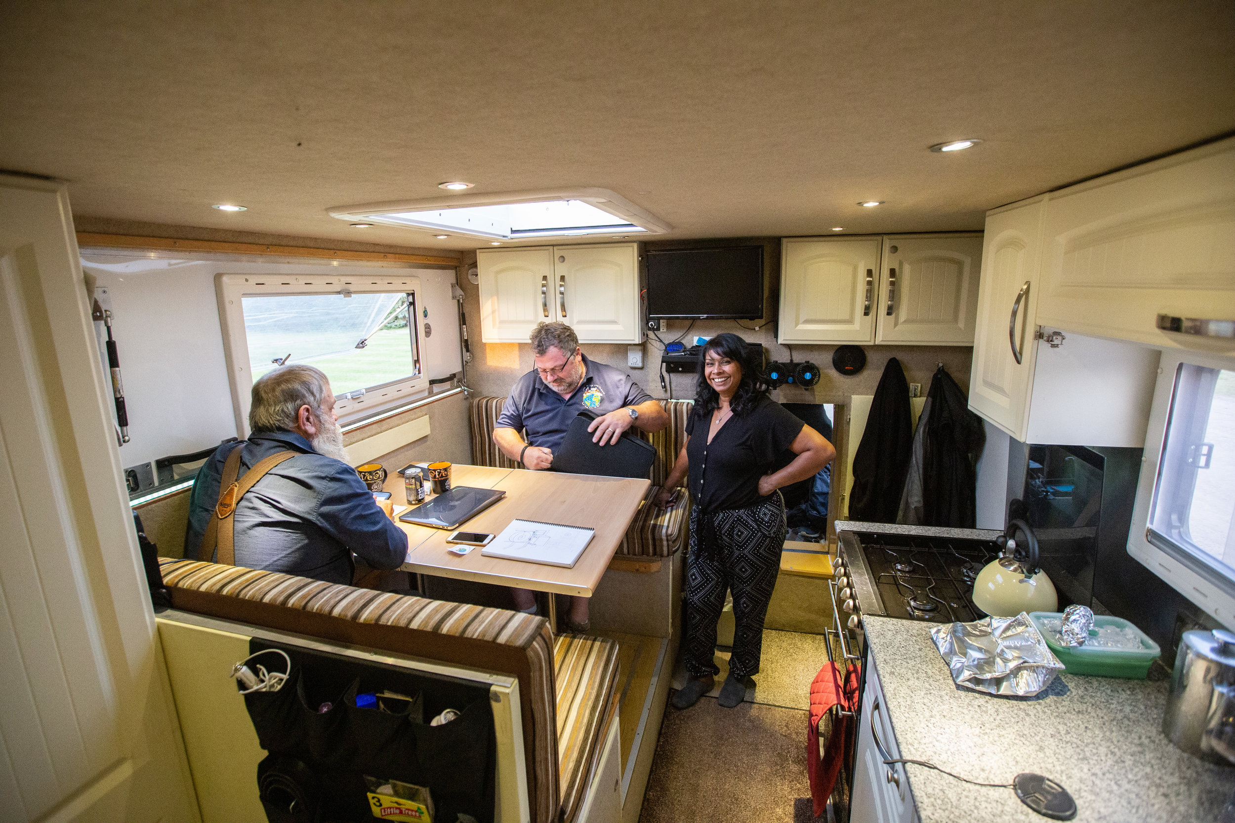 We sat six people at this dining table. Who says you can't enjoy lots of company in a tiny home? Andy and Mandy's home is really nicely designed and executed, if you would like to see more of their travels and some more of their build check them out at  https://justoutforadrive.blog/the-build/ .