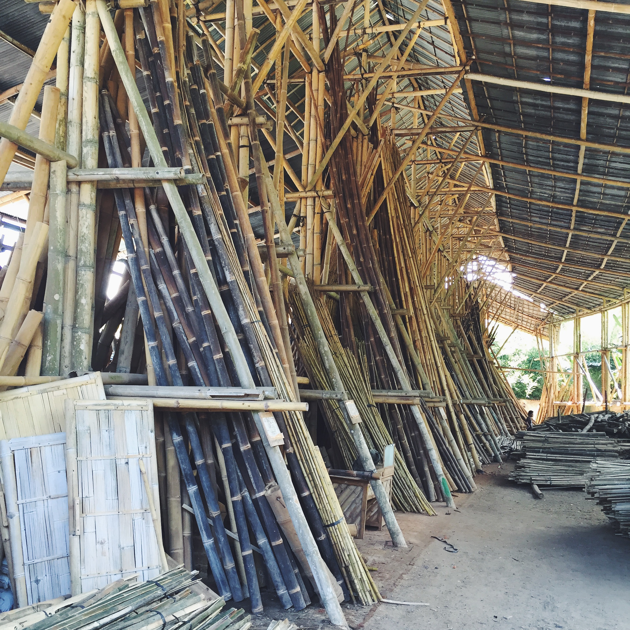 This is  PT Bamboo , the factory that makes bamboo houses and furniture that ship all over the world.