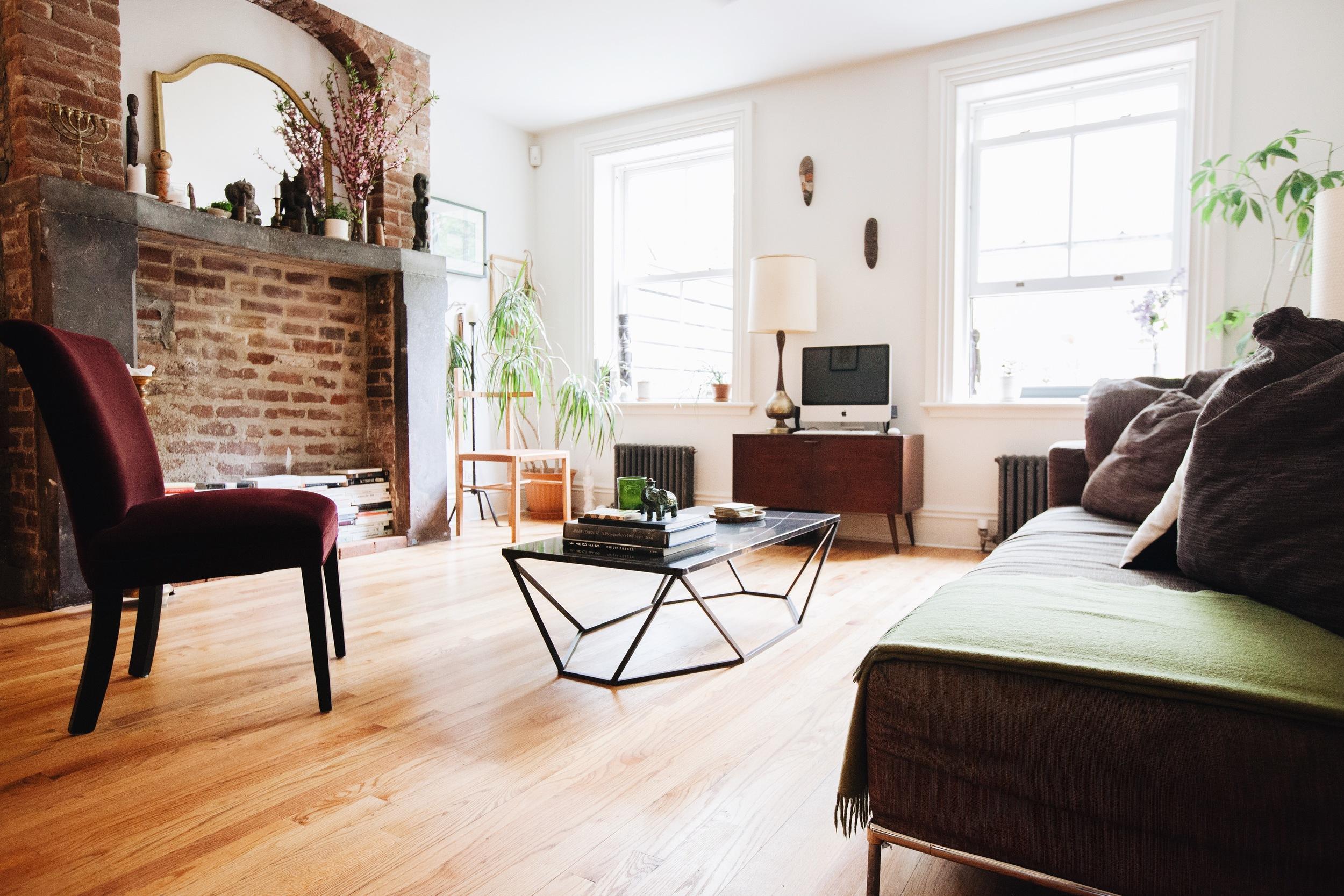 Dusk Coffee Table  by Coil + Drift, tan Soren Chair by Coil + Drift