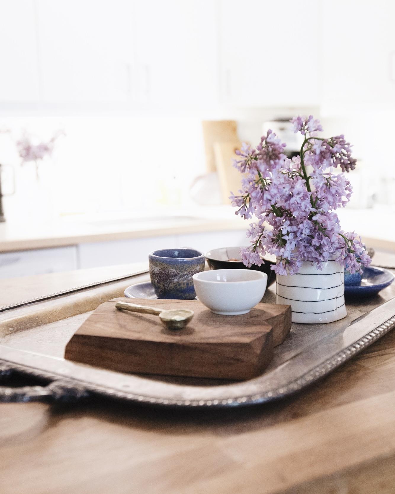 Brass Sugar Spoon  by Coil + Drift, Ceramics by  btw ceramics