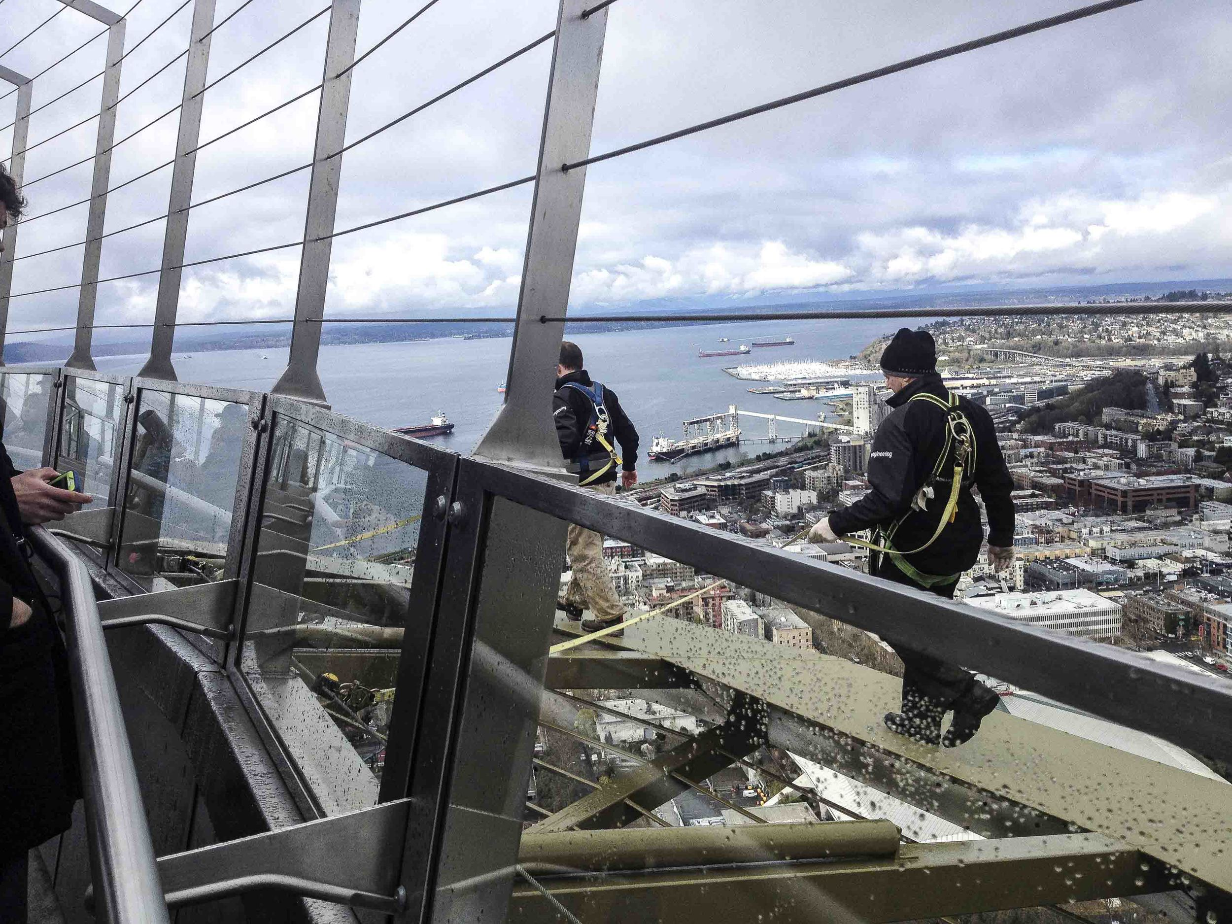 """We could not have done this without Matt and Val.The Space Needle Engineering Staff were the heroes of this operation, going out on the Space Needle """"Halo"""" to install and adjust the 20 GoPro cameras. The most popular tourist questions we're, """"Are you gonna bungee jump?"""" or my favorite """"Why are they wearing dress shoes?"""""""