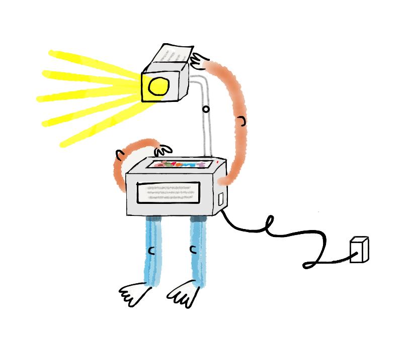 Manual Cinema-inspired self-operating, anthropomorphic overhead projector.