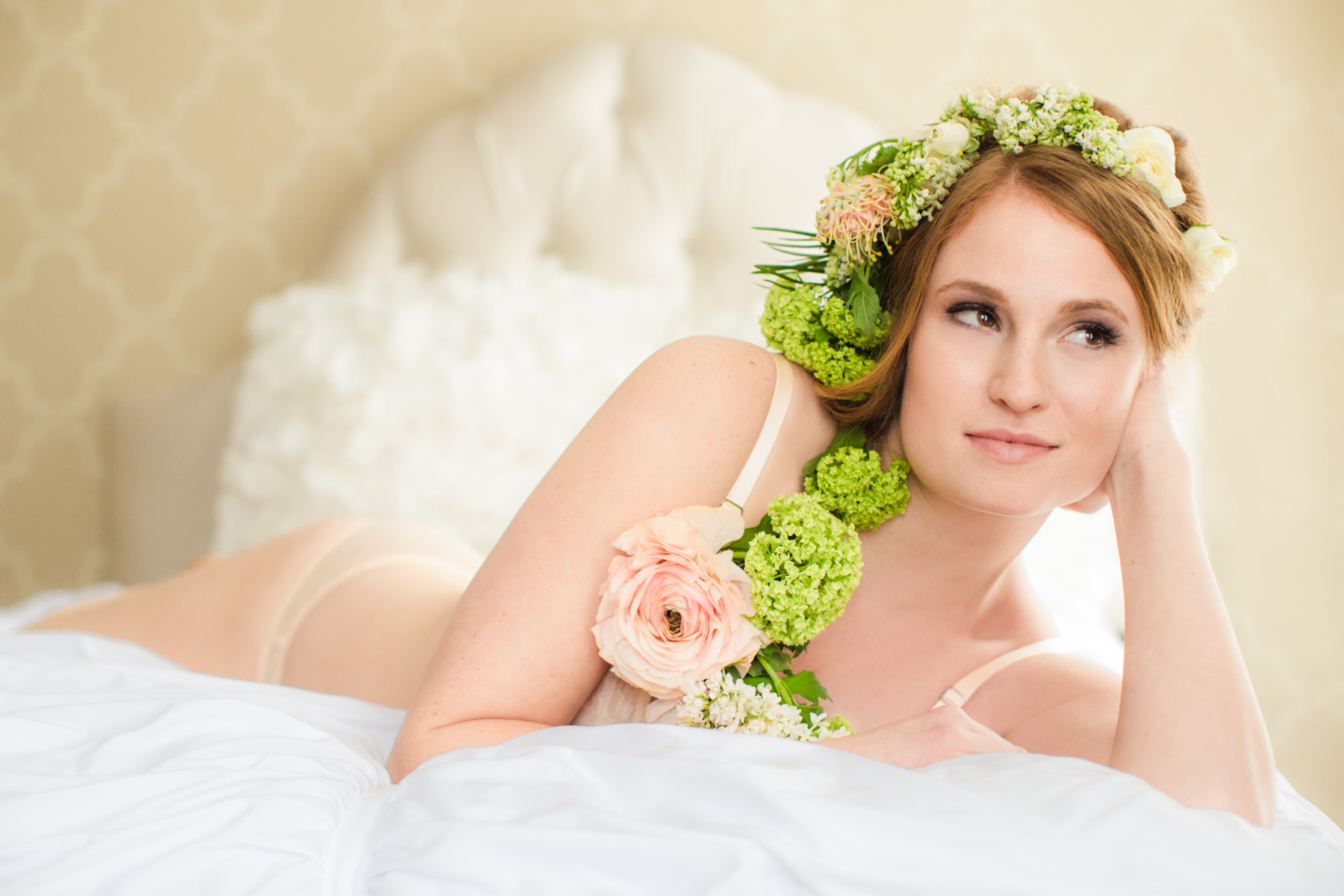 Stacy K Floral and Natalie Sinisgalli Photography floral headpiece for boudoir shoot