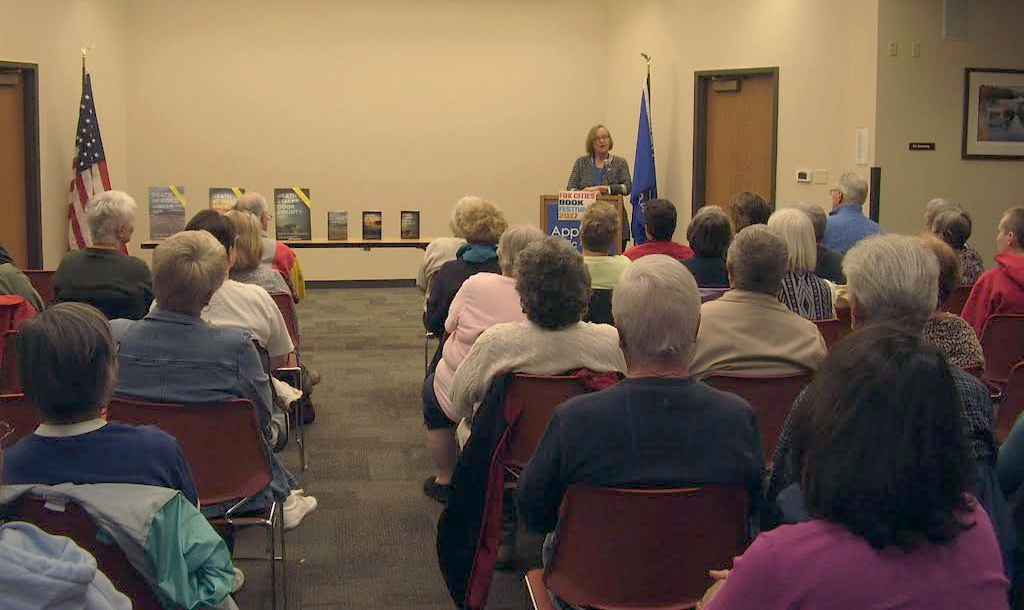 Talking to a full-house at the Appleton Library as part of the 2017 Fox Cities Book Festival. Photo by Elizabeth Eisen