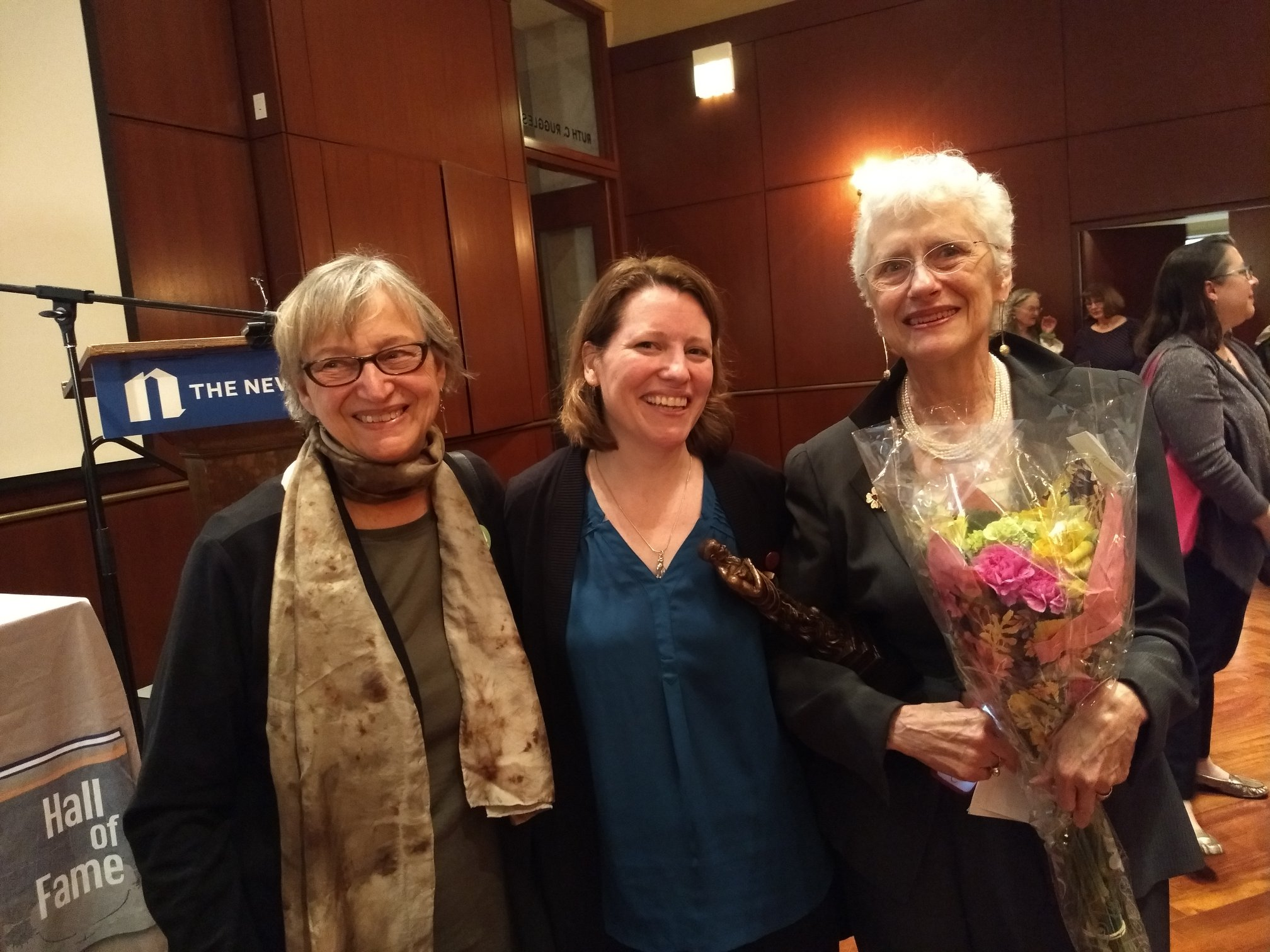 Sisters in Crime salutes founder Sara Paretsky at the Chicago Literary Hall of Fame. With Susanna Calkins. May, 2019.