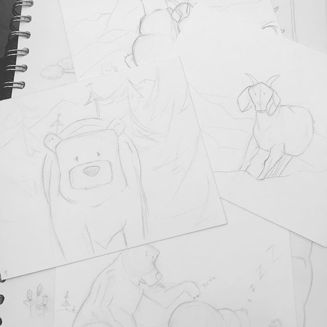 You know what 28 hours of airports and traveling is good for? Getting all your rough drawings done for a project! At least I'm being somewhat productive. . . . #girlsinanimation #drawing #illustration #lazymarmots #fatbears #sendit