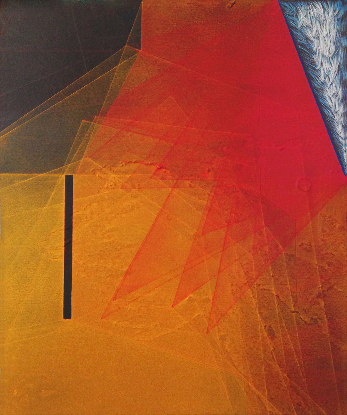 """Threshold Composition no.27. Oil and ink on panel. 12"""" x 10"""". 2015"""