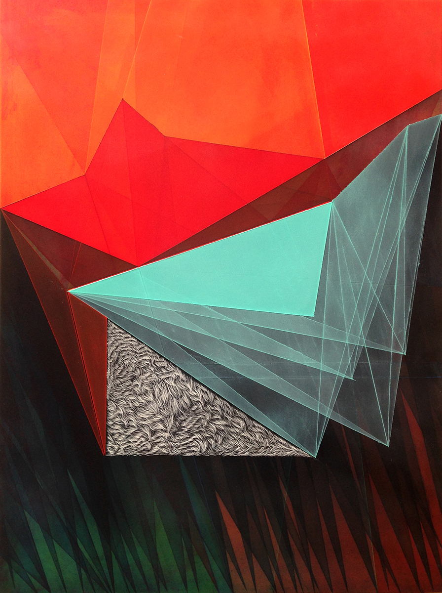 """Threshold Composition no.34. Oil and ink on panel. 16"""" x 12"""". 2015"""