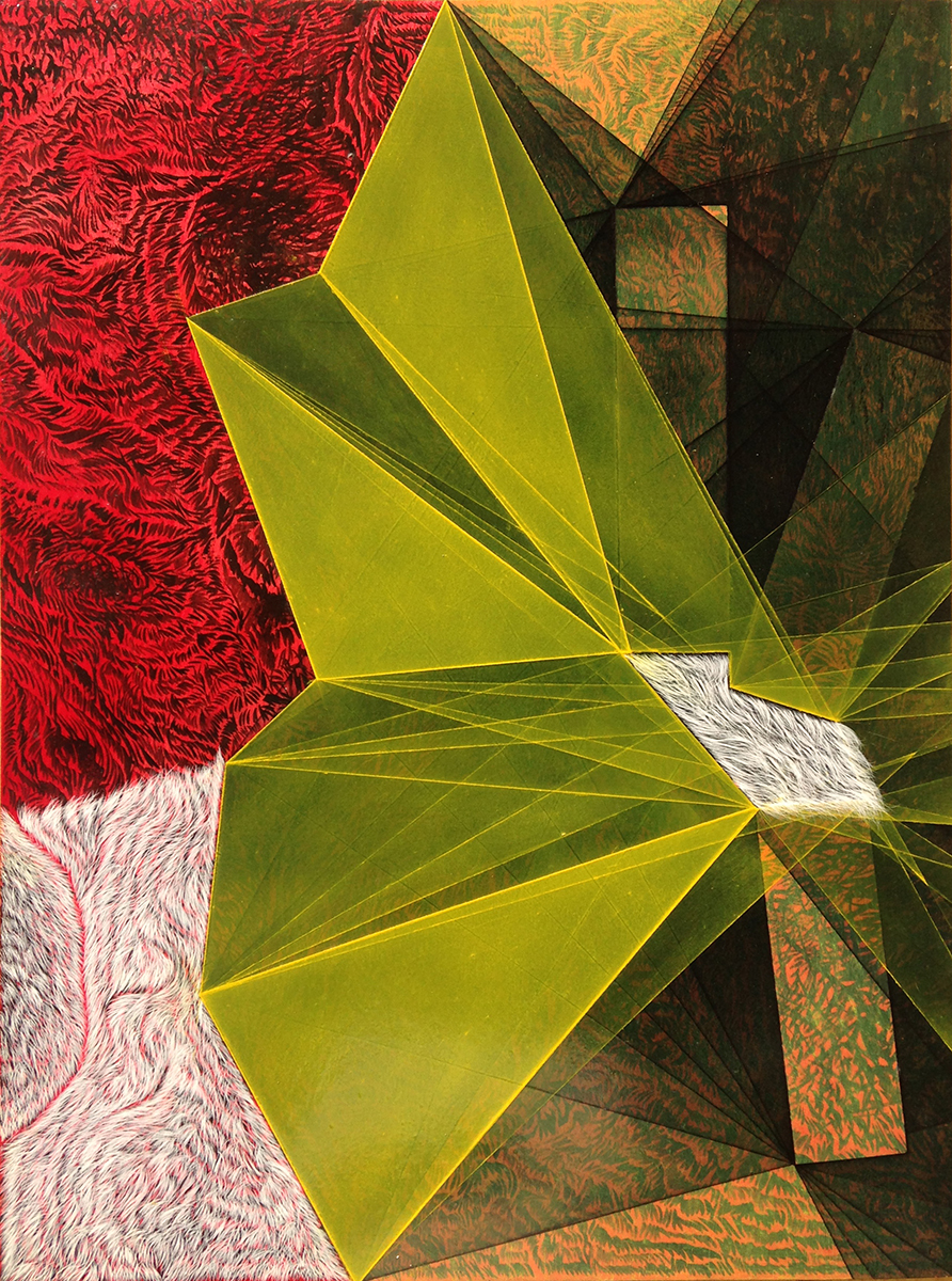"""Threshold Composition no. 24. Acrylic, oil and ink on panel, 16"""" x 12"""", 2014"""