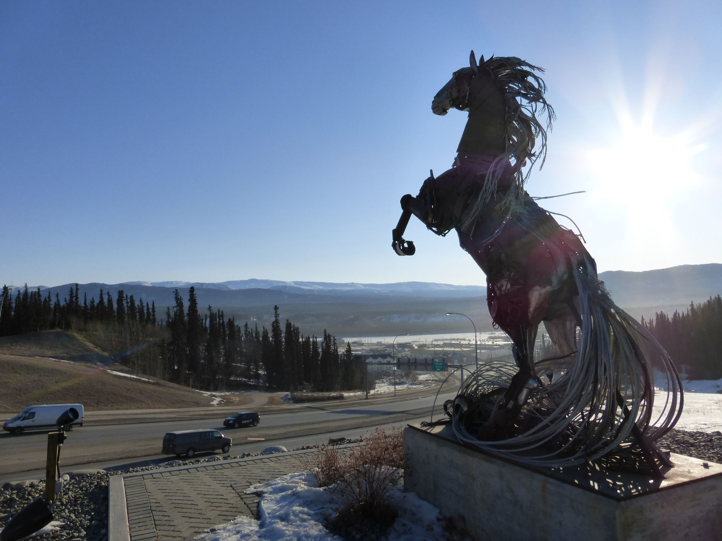 A statue at Whitehorse, built by combining random pieces donated by people from all around Yukon.