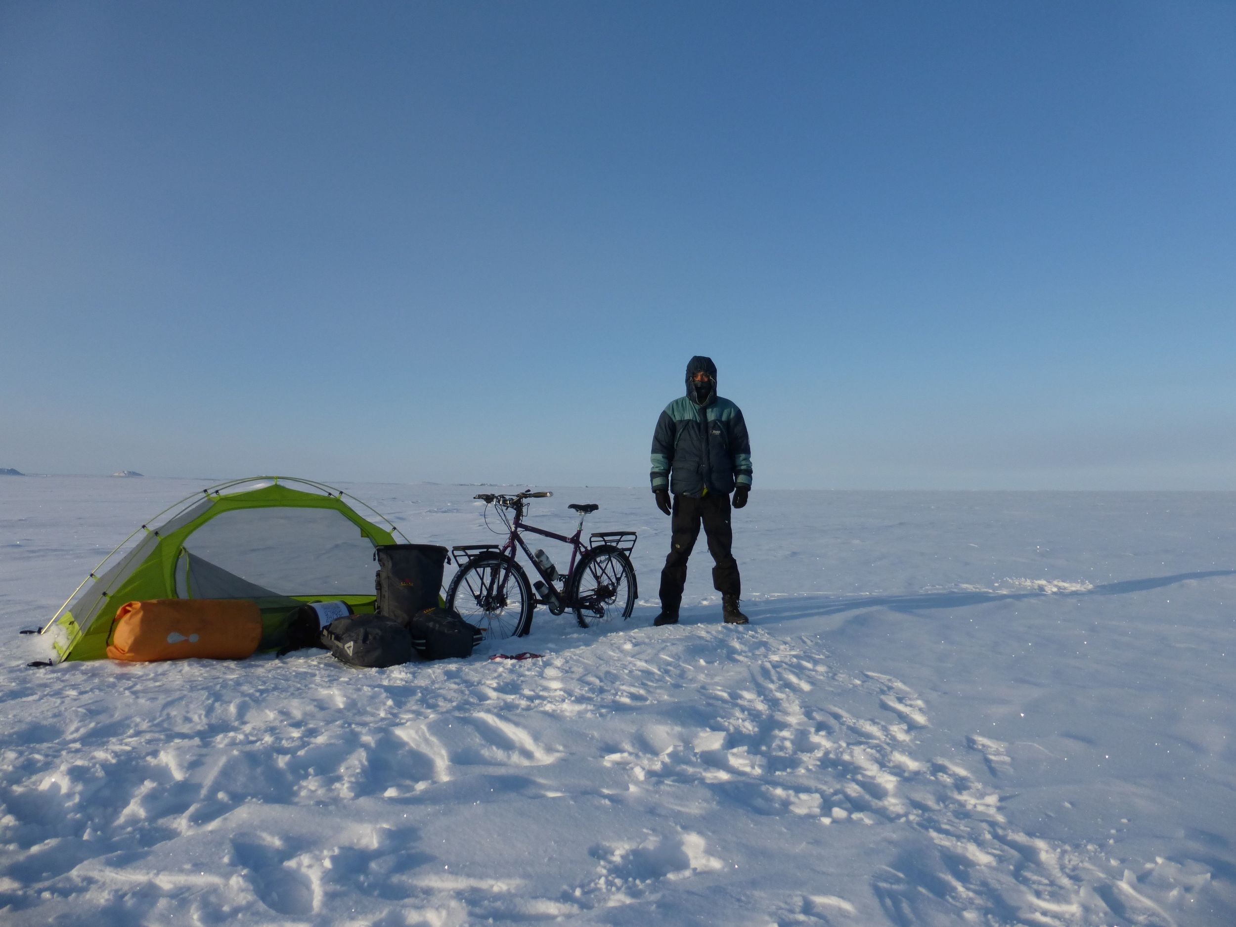 After camping on the ice covering the Arctic Ocean.