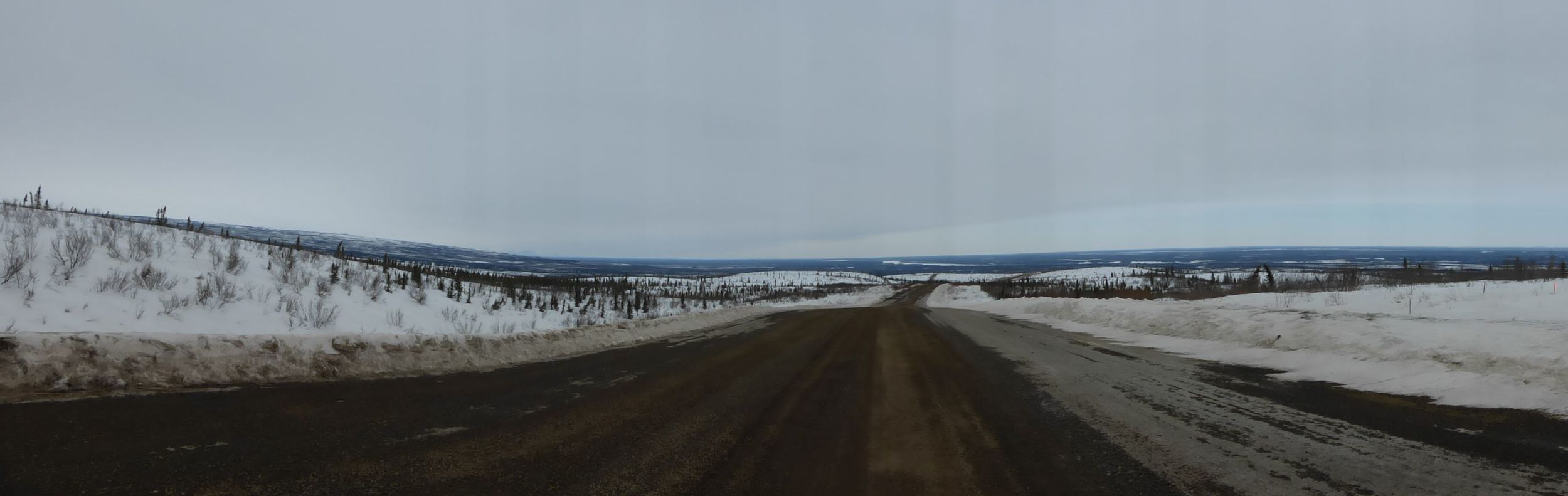 Panoramic view of the road behind me