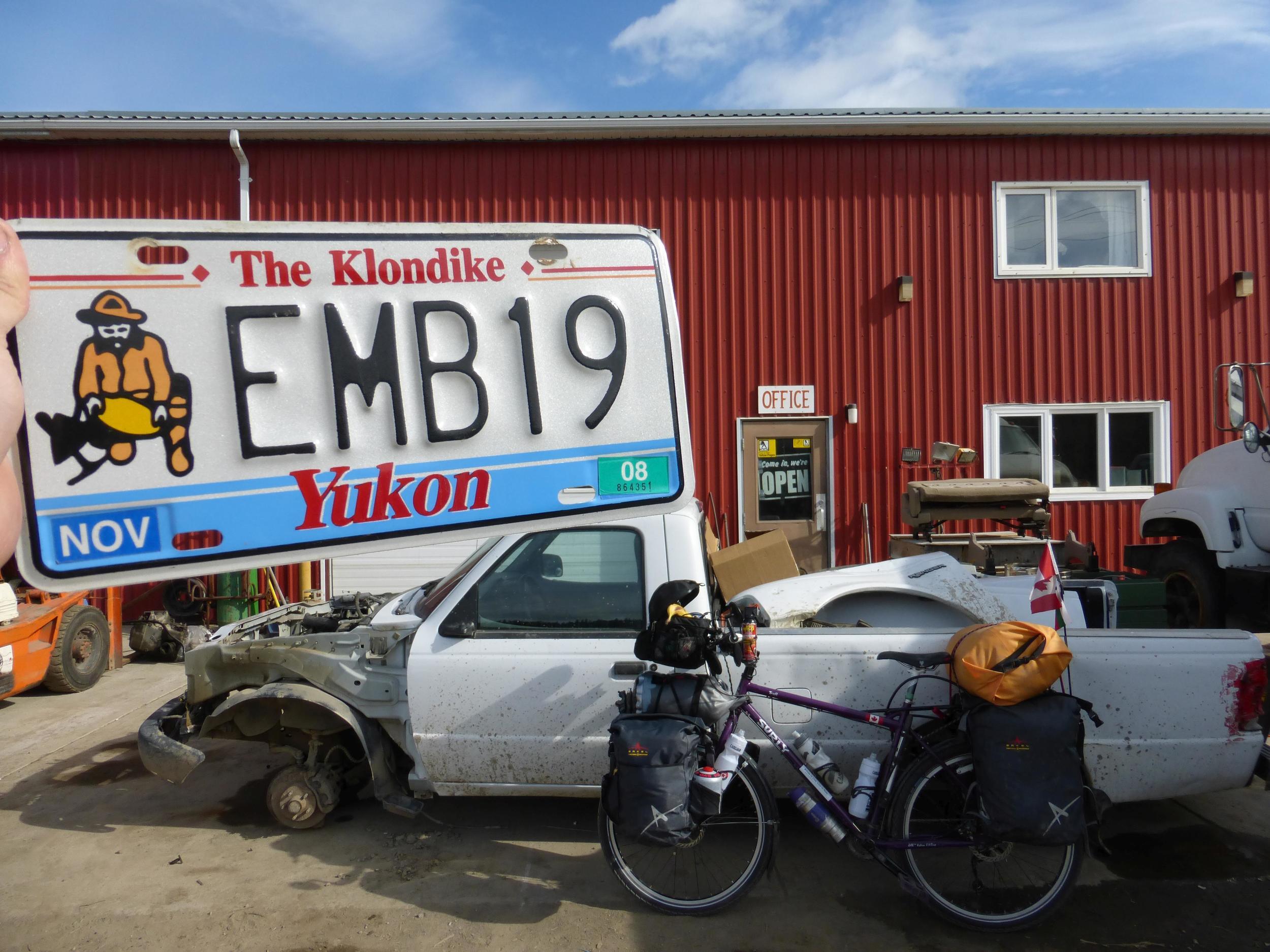 I got my Yukon license plate at the Klondike Highway turnoff