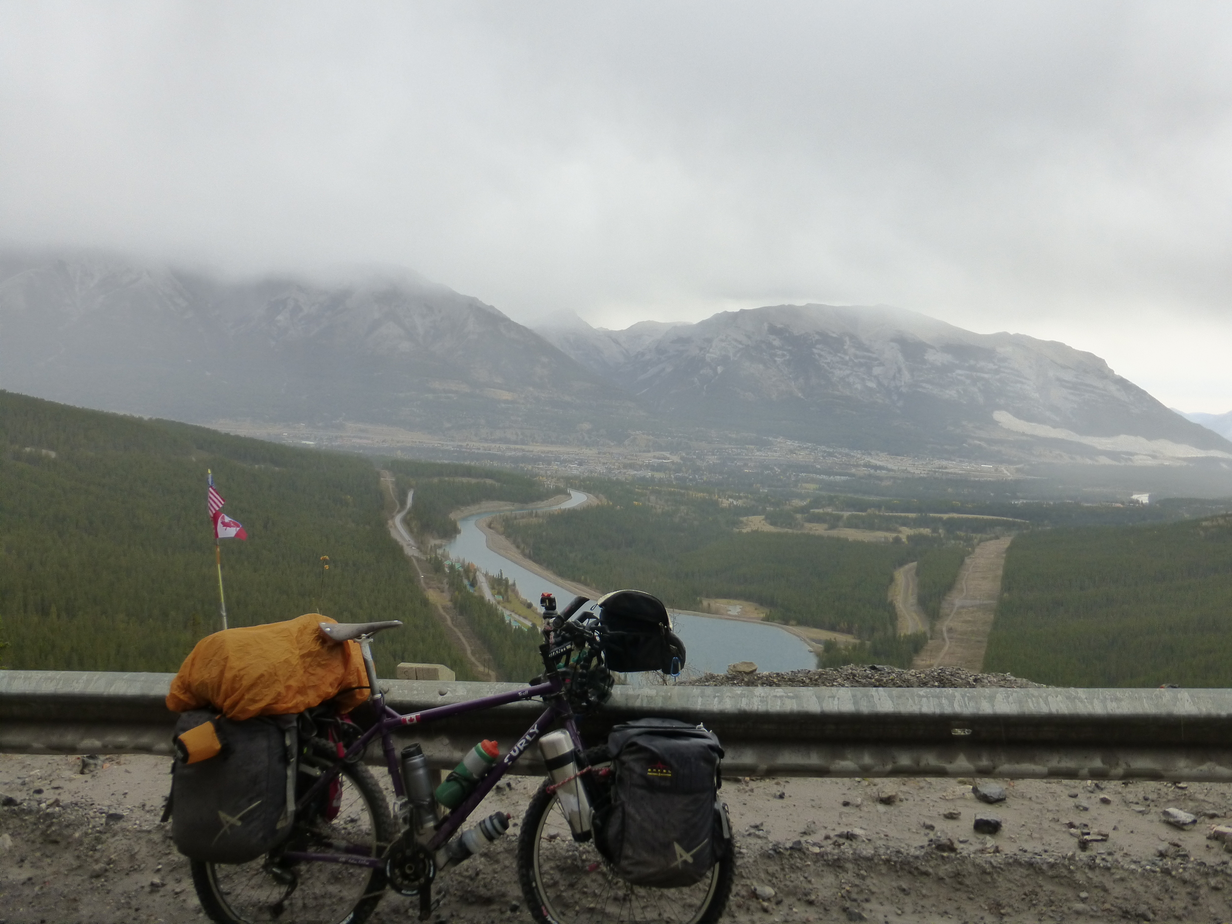 Deadhorse (the bike) overloaded with 10 days supply of food and a lot of stuff I don't really need! (overlooking Canmore)