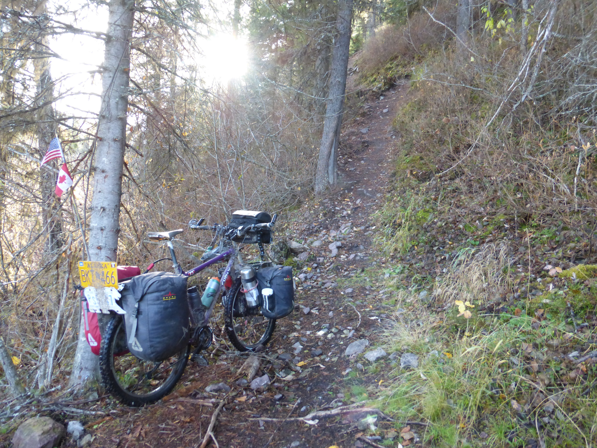 Much steeper than it looks. Had to walk up twice: once with the bags and once with the bike. (click to see full size)