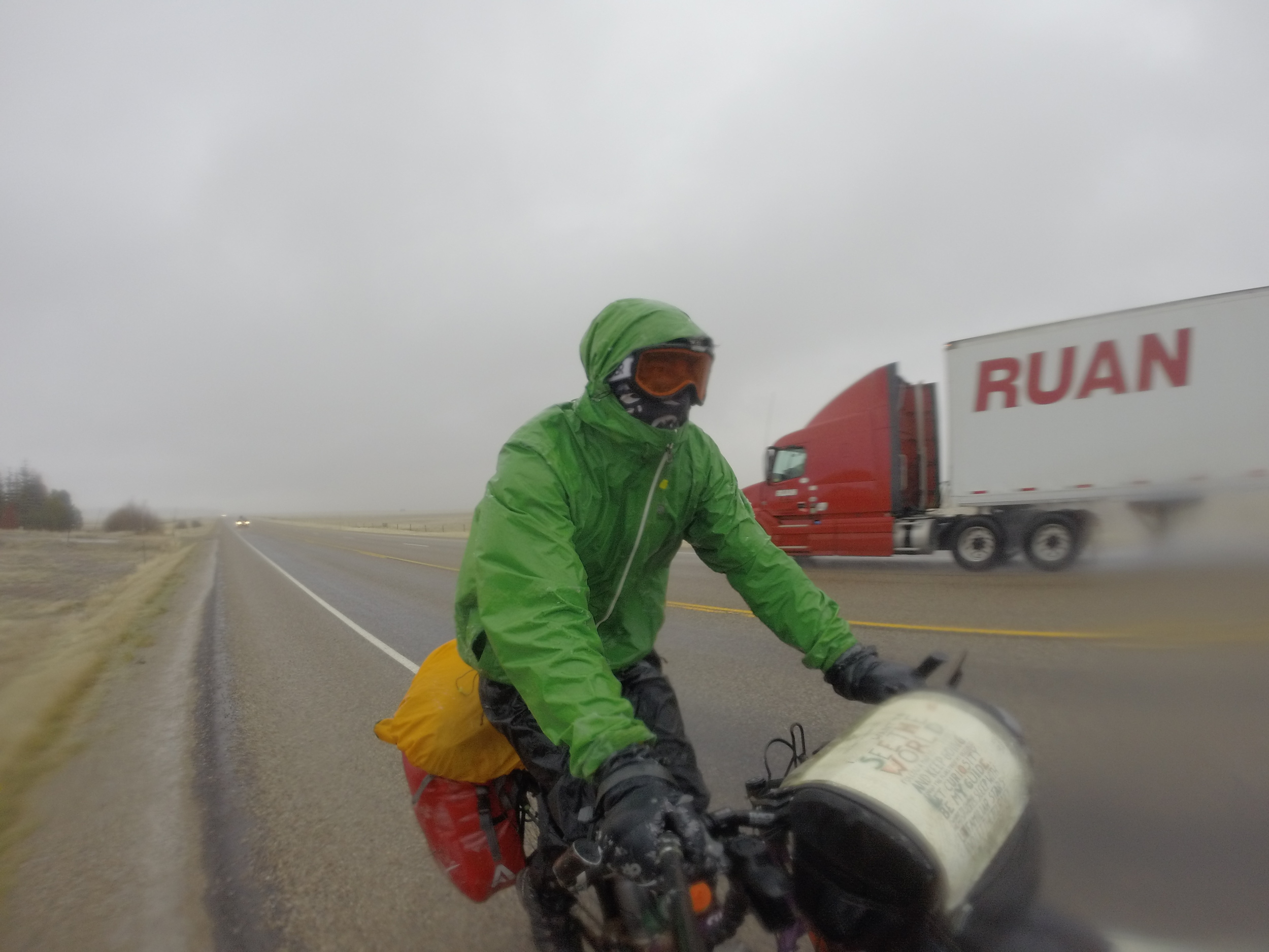 The bag in Action during freezing rain in Idaho