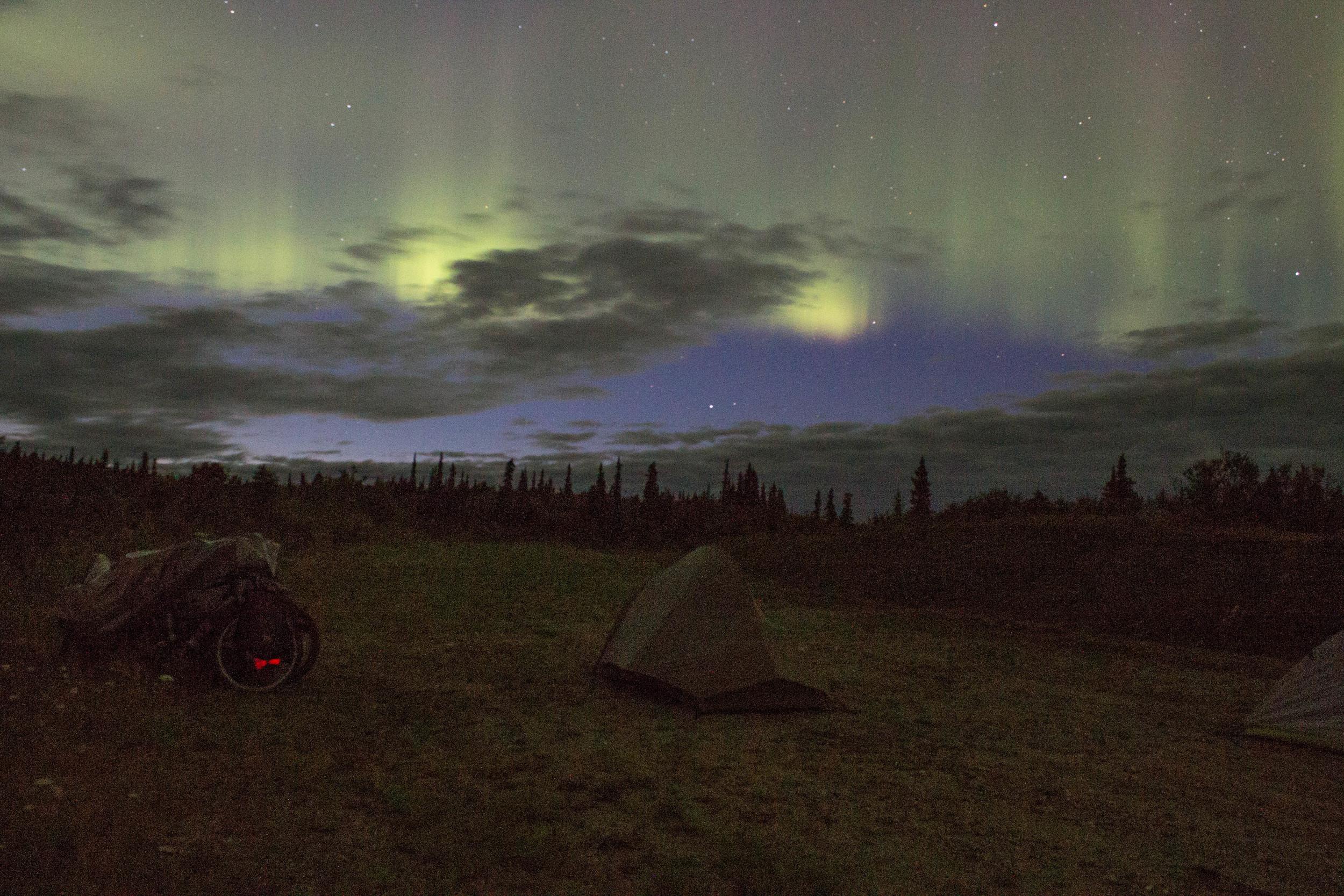 Shhh... the bikes are sleeping. The Northern Lights, Photo: Joe