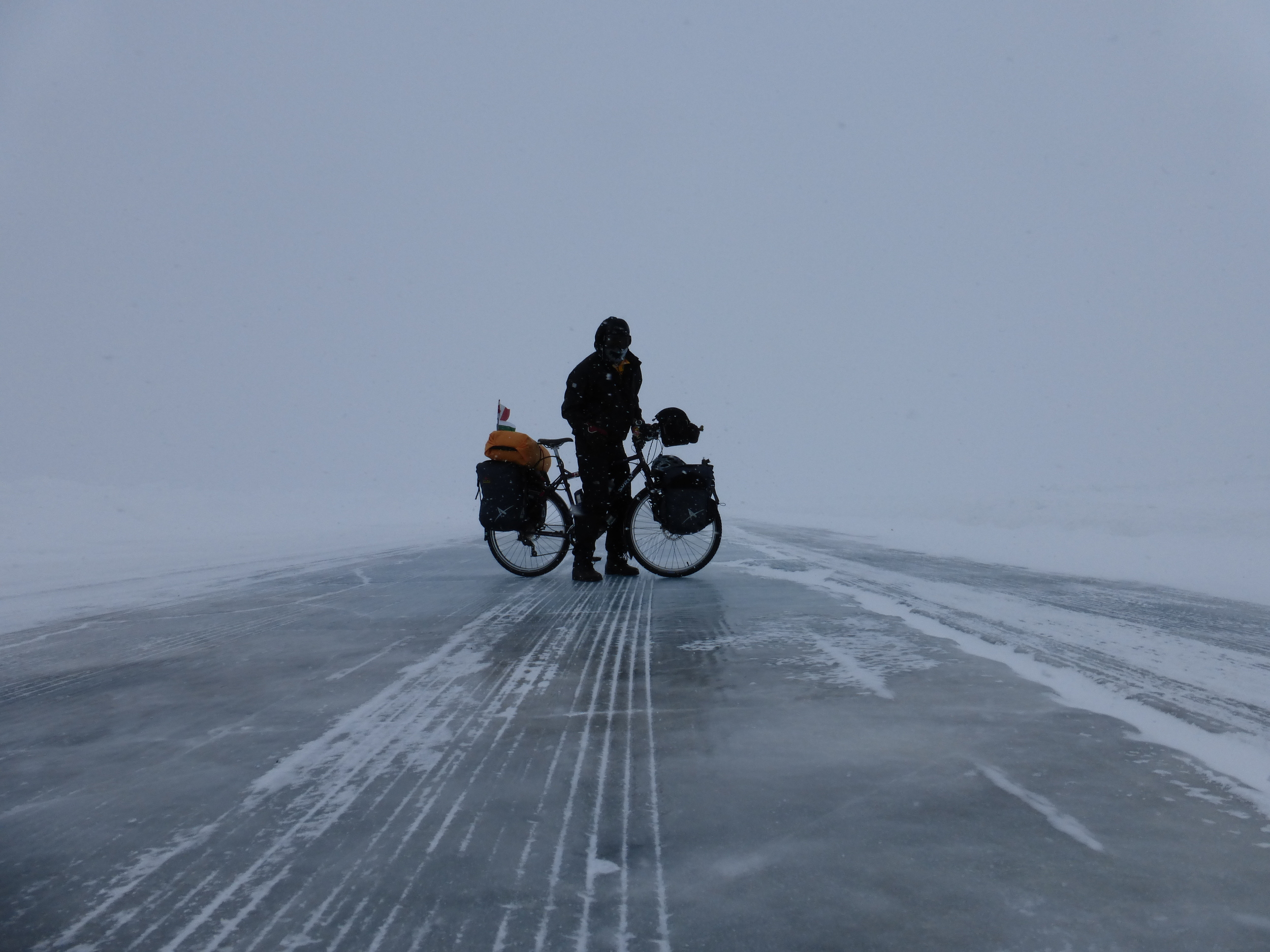 the ice road on the Mackenzie river in Northwest Territories