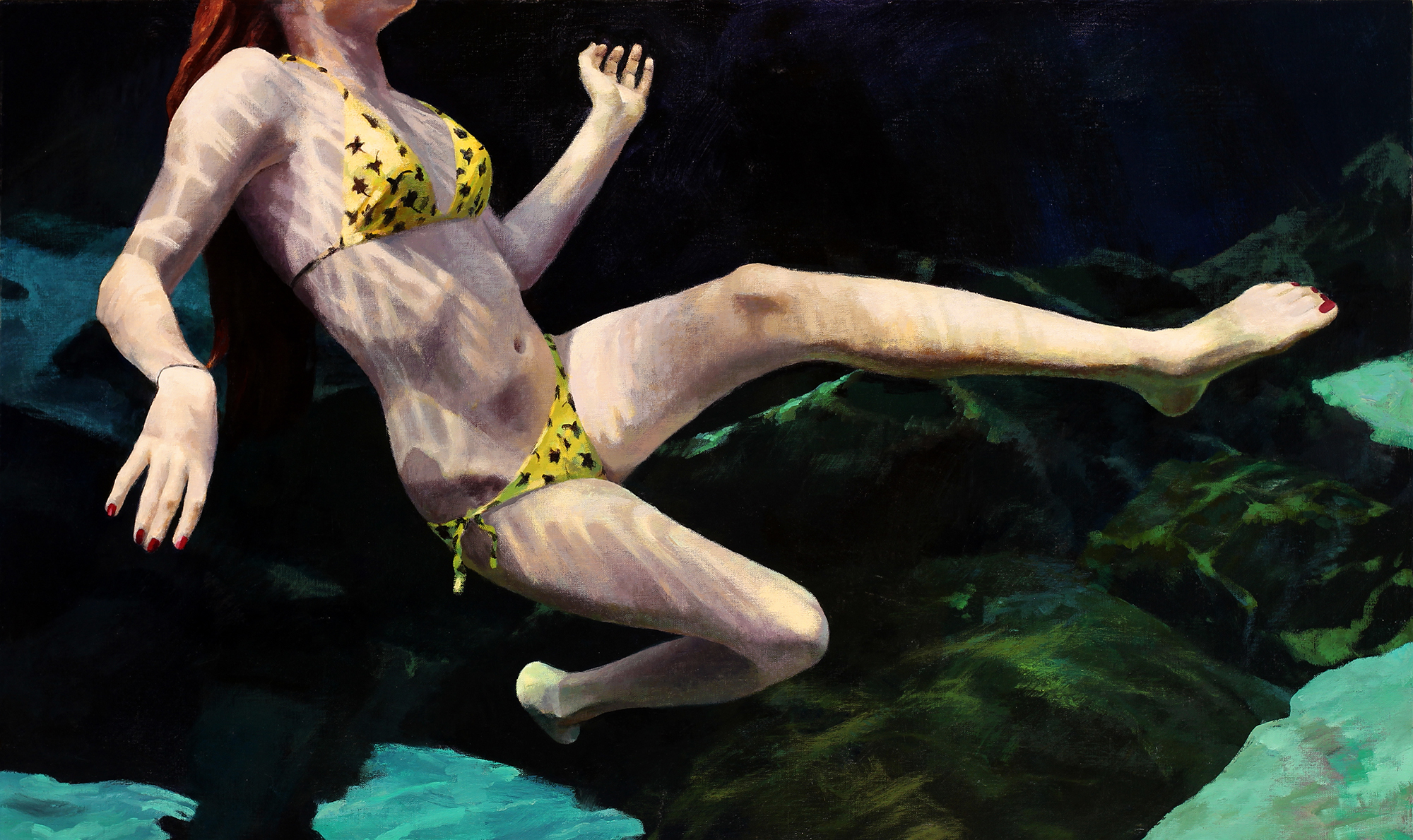 """Cenote Series: Single Swimmer #3"", 30"" x 50"", acrylic on linen"