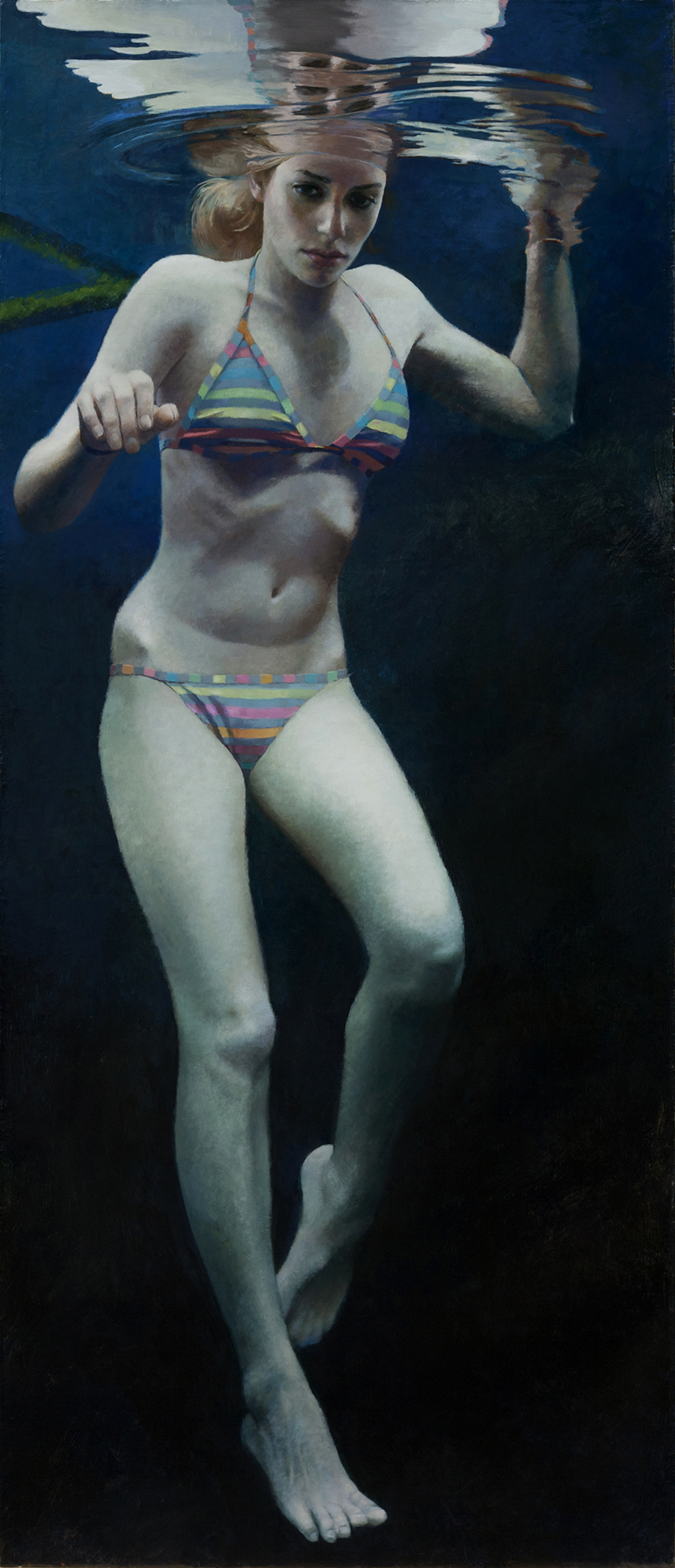 """Cenote Series: Single Swimmer #1"",  70"" x 30"""