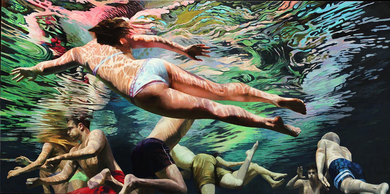 """""""Cenote Azul #2"""", 2014, 36"""" x 72"""", acrylic on linen"""