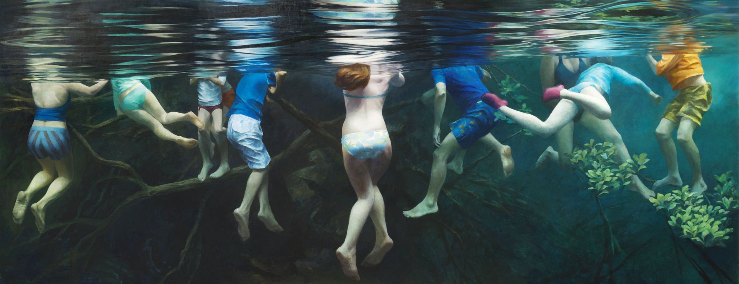 """Cenote Series: Ten Swimmers"",   50"" x 128"""