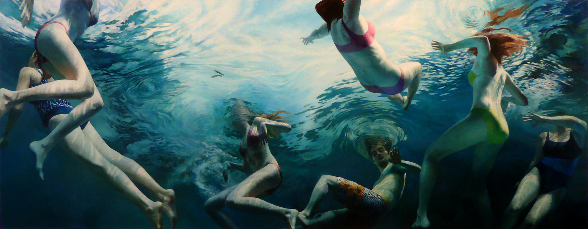 """Cenote Series: Seven Swimmers"", 50"" x 128"", acrylic on linen"