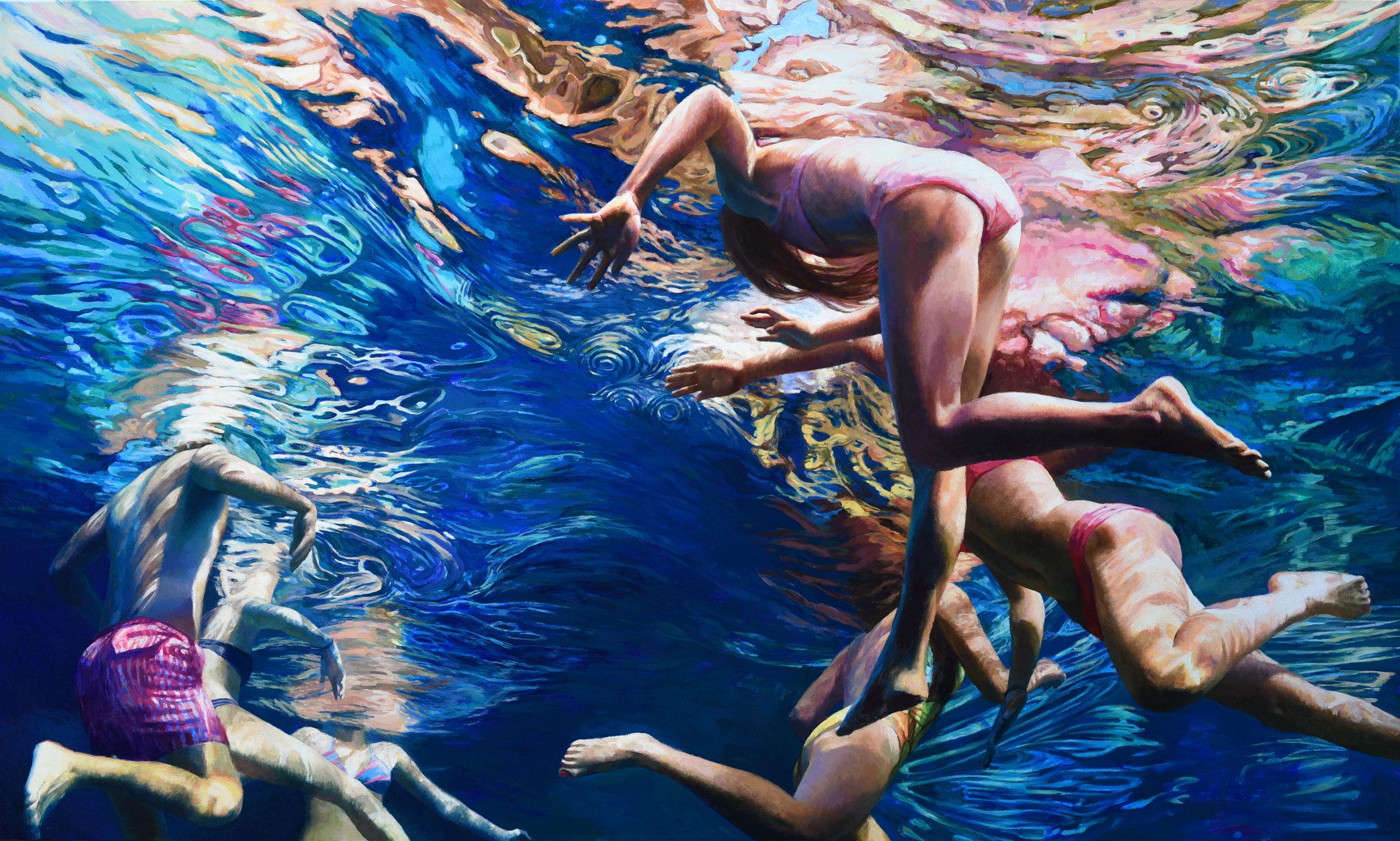 """""""Cenote Azul #28"""", 2017, 36"""" x 60"""", acrylic on linen"""