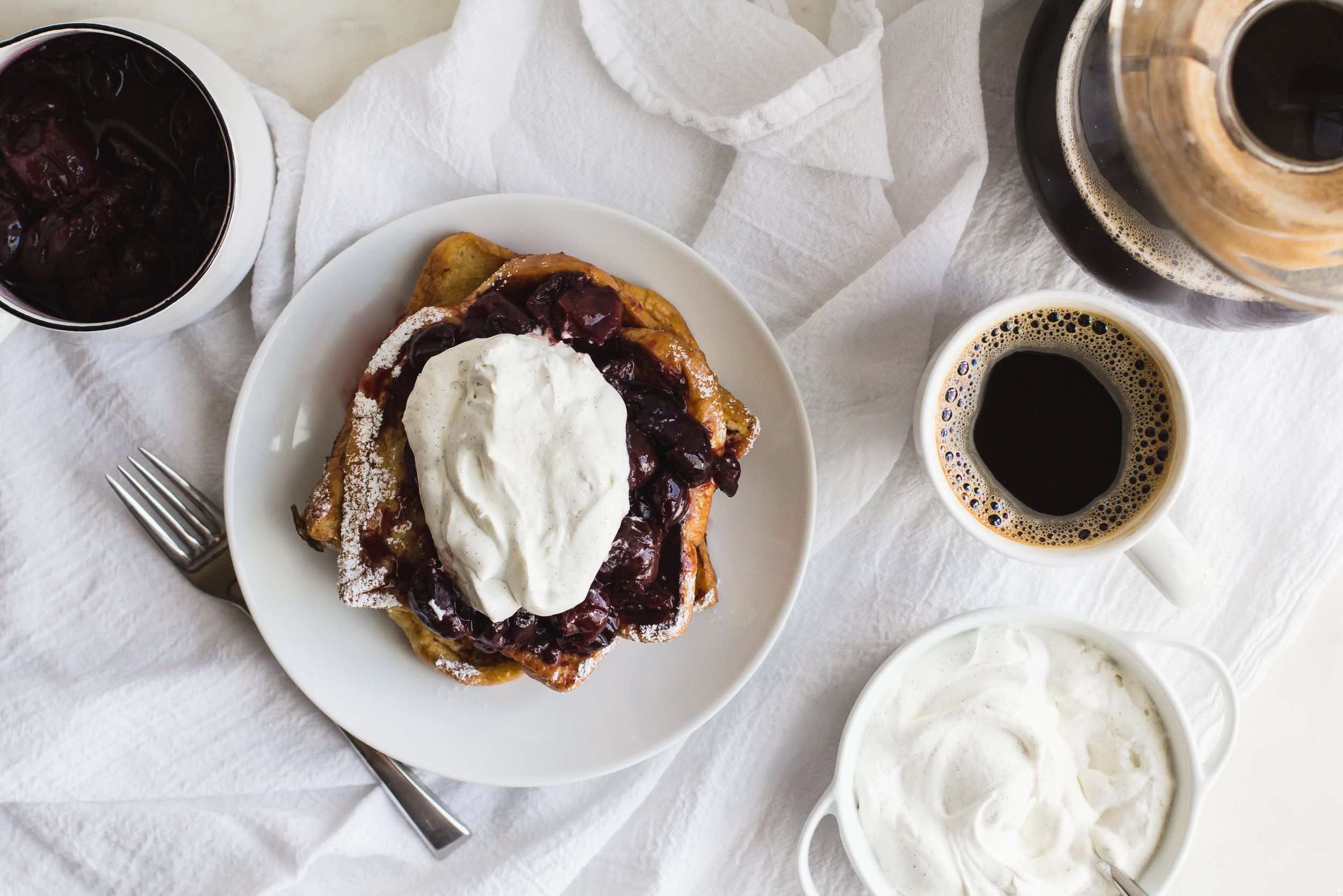 French Toast with Cherry Compote + Vanille Bean Whipped Cream _ Sarah J. Hauser-10.jpg