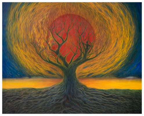 """""""Resting in the Tree of Life"""" Oil Painting by Kevin Peer"""