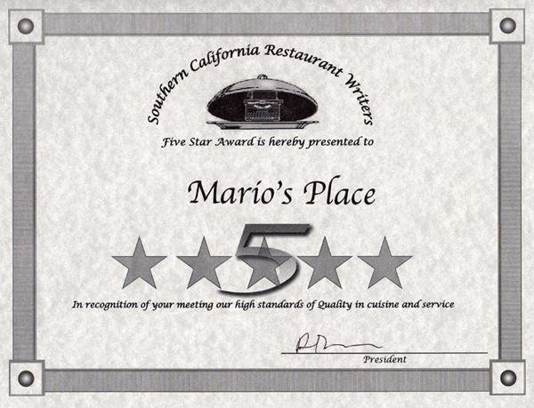 5 Star Award Southern California Restaurant Writers Mario's Place.jpg