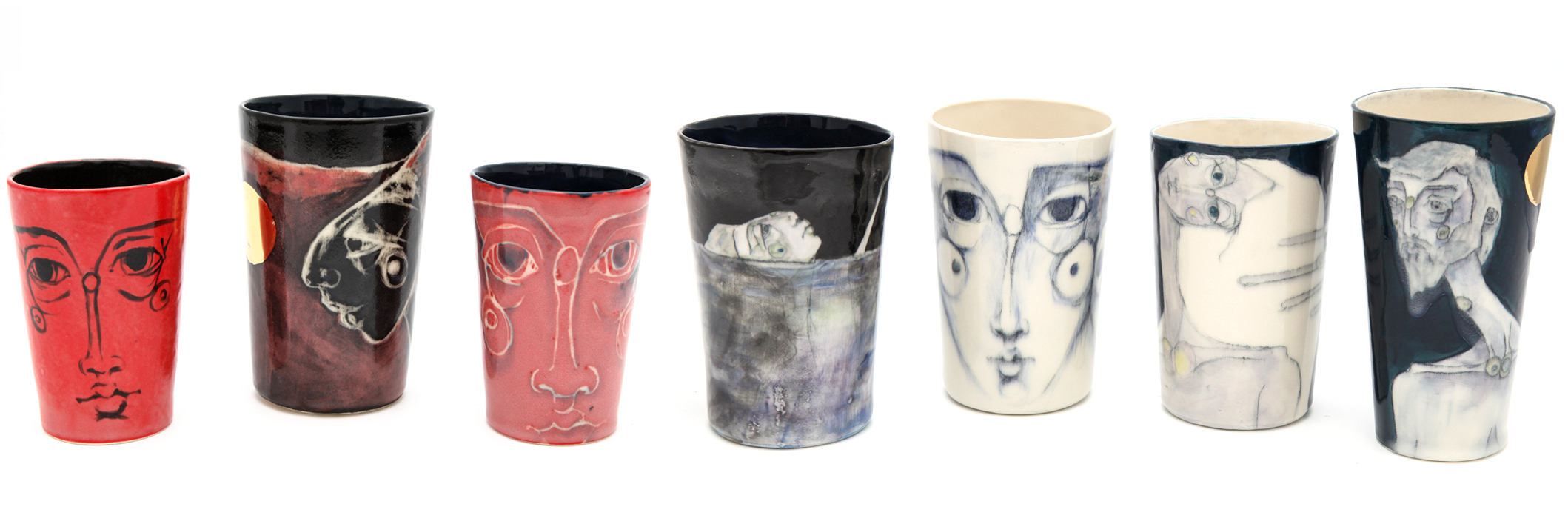 One of a kind cups with glaze & pencil or sgraffito & glaze. Some have 24kt gold glaze.