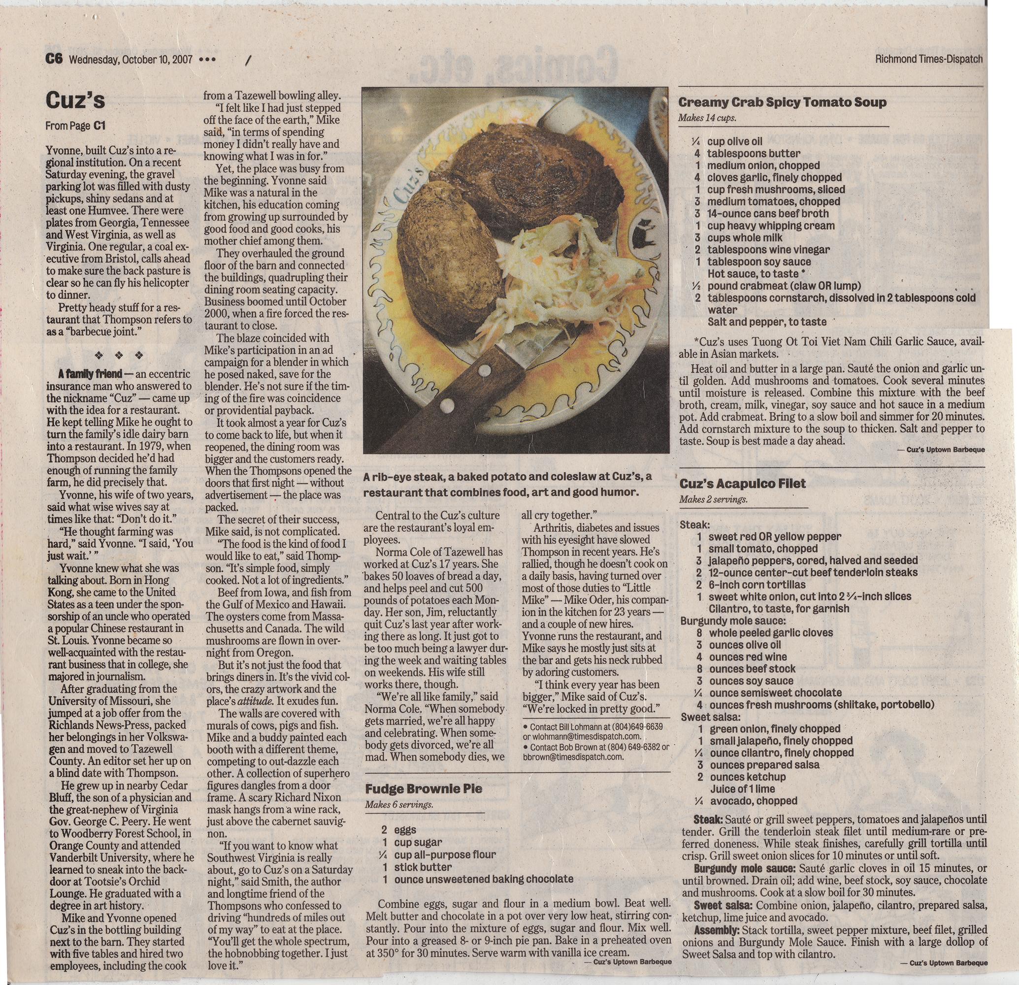 Cuz's Clips - Richmond Times Dispatch - 2007