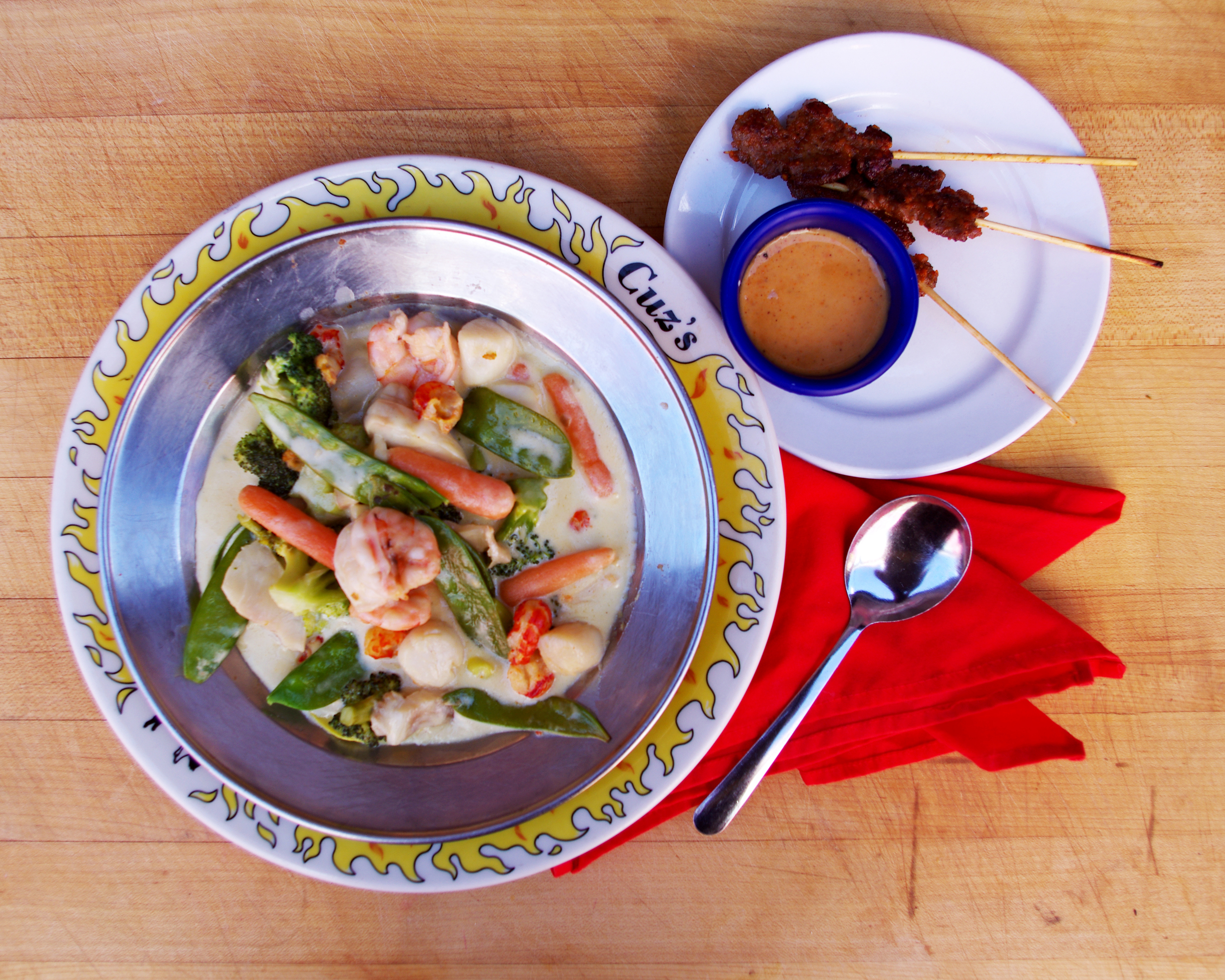 Thai Seafood Curry with filet satays.