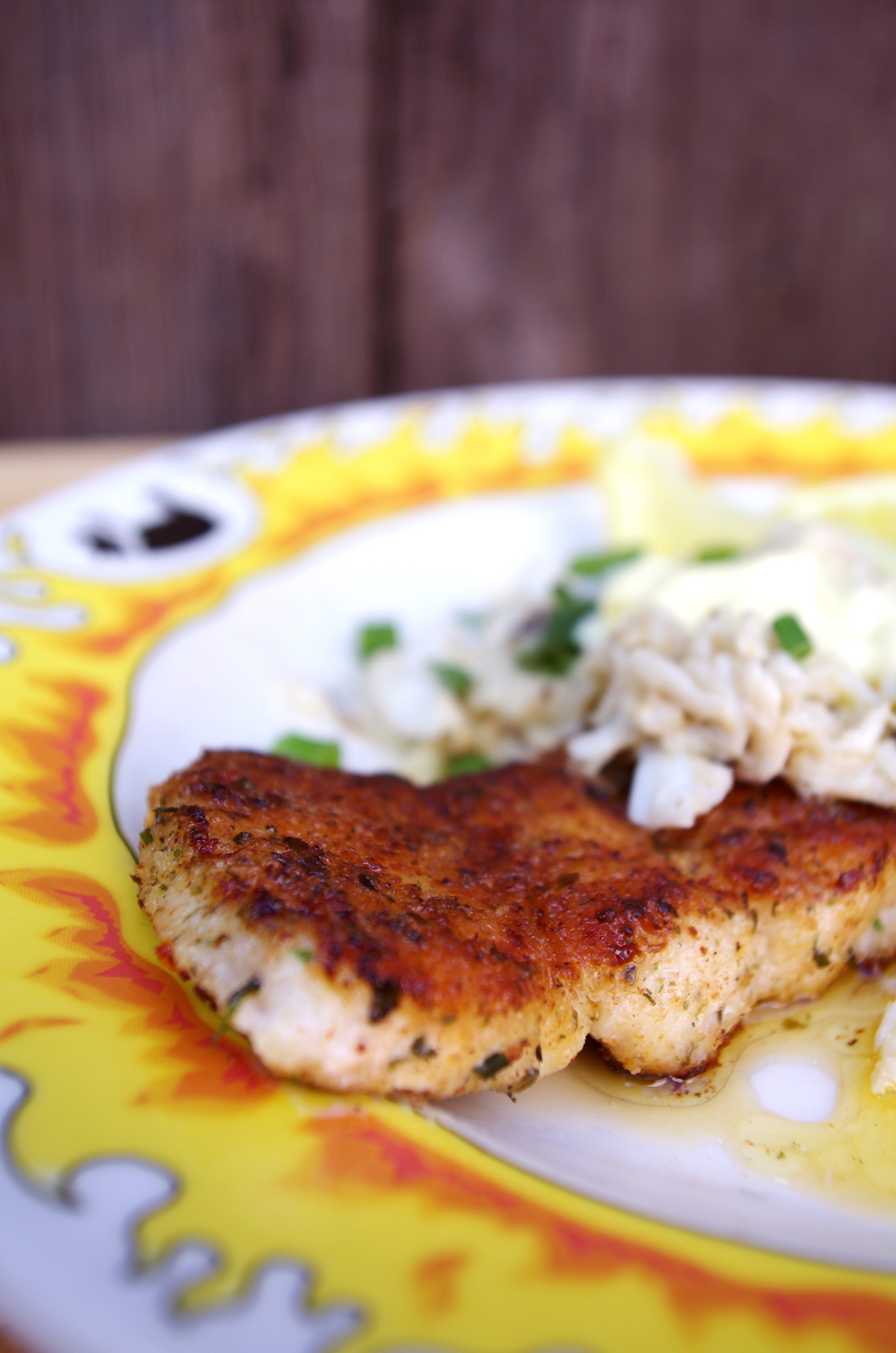 Grilled snapper with sauteed crabmeat.