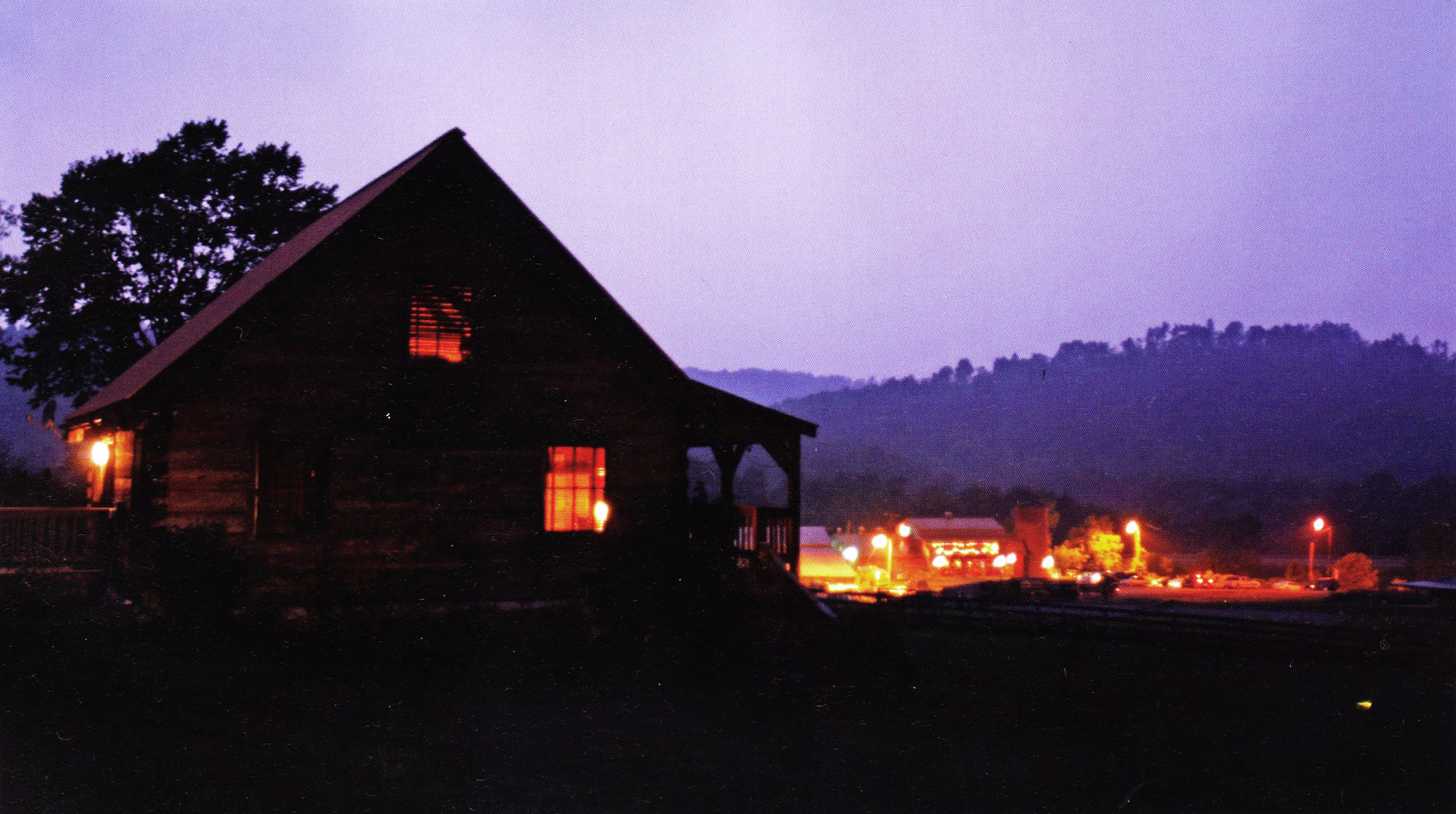 Looking toward the restaurant from the cabins at night. Photo by Bob Brown.