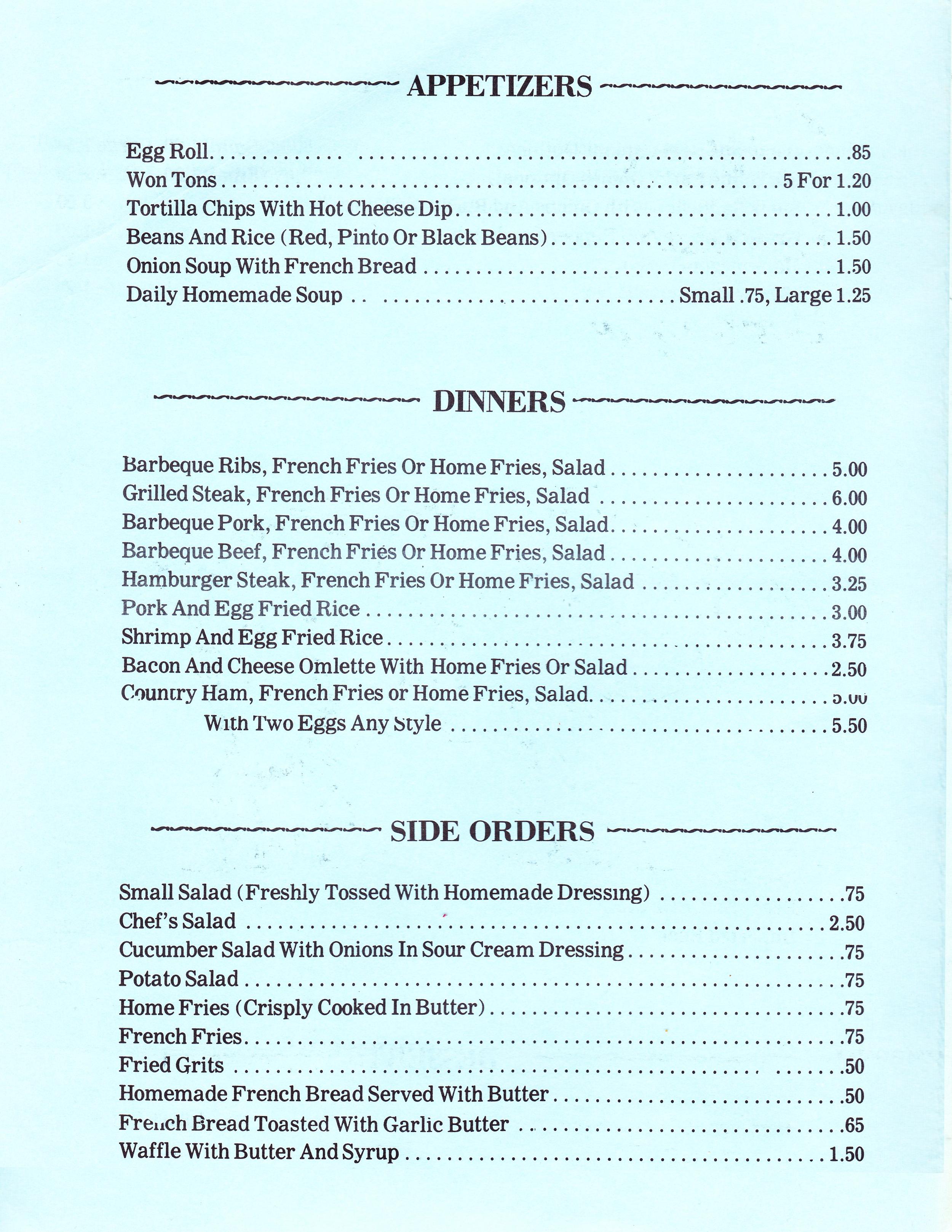 The original Cuz's menu from 1979.