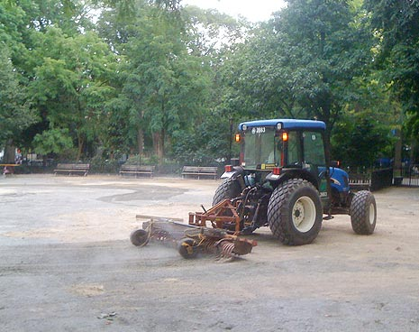 Day 6: Finally the tractor arrives to grade the large run. (Day 5 was spent wrangling officials to get aforementioned tractor)