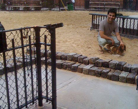 Eric and Chili help build some new steps to keep the sand from spilling out the entrance