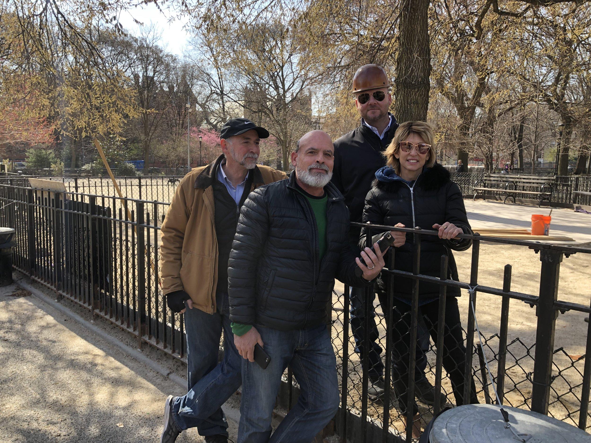 Garrett Rosso, Bradley Romaker from NYC Parks Dept & Susan Alexander, the contractor for Tech Grass, start the installation