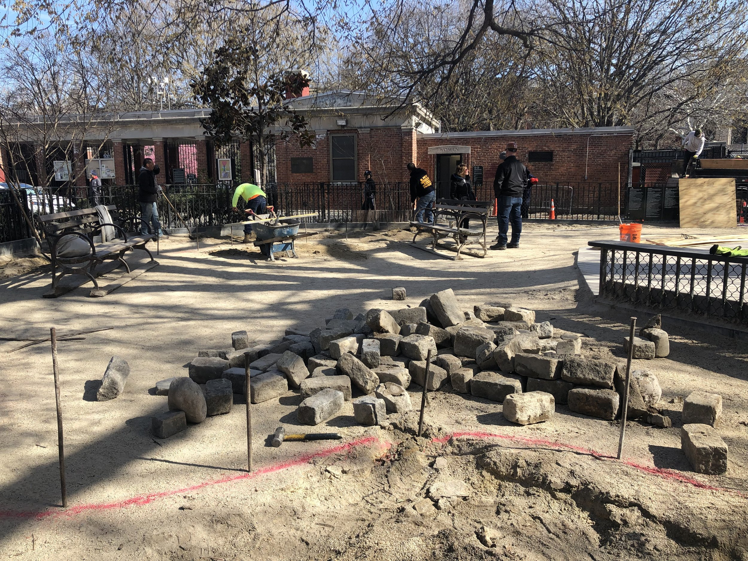 Cobblestones and benches are removed from the old run