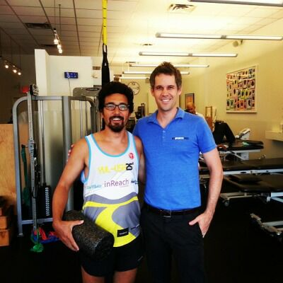Dan with Ultra Marathoner and bare foot runner JMK in New York City.