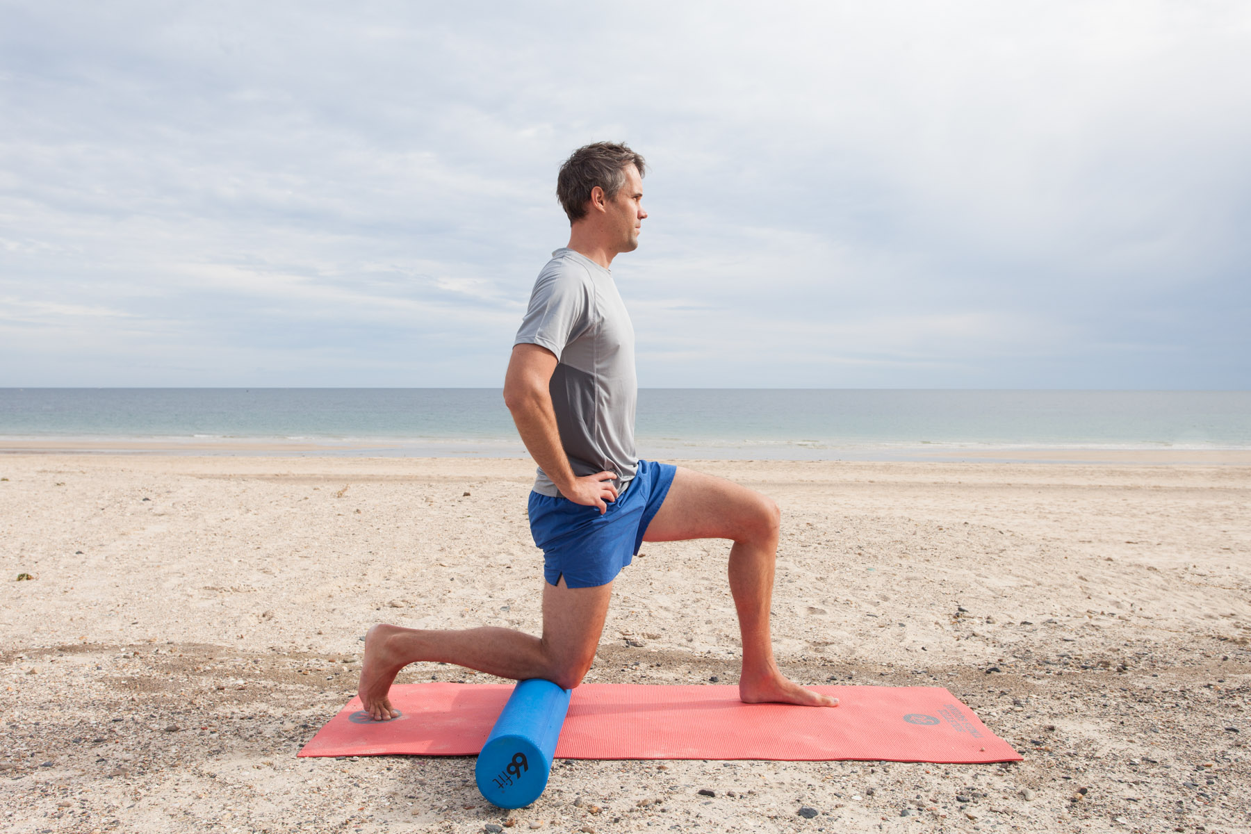 HIP FLEXOR STRETCH  Feel the stretch in the front of your hip as you tuck the pelvis under gently