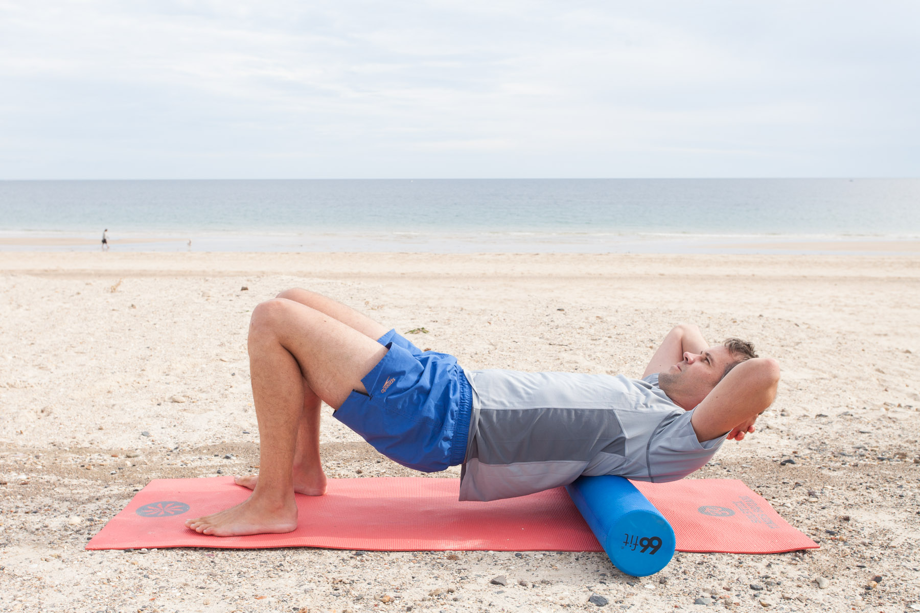 Thoracic Roll   Lift your hips up and keep your head supported with your hands. Roll the upper part of your back from the shoulder blades down to the lower ribs.   Keep breathing and relax your jaw.  You should feel some nice releases in the joints here.  Avoid the neck and the lower back.
