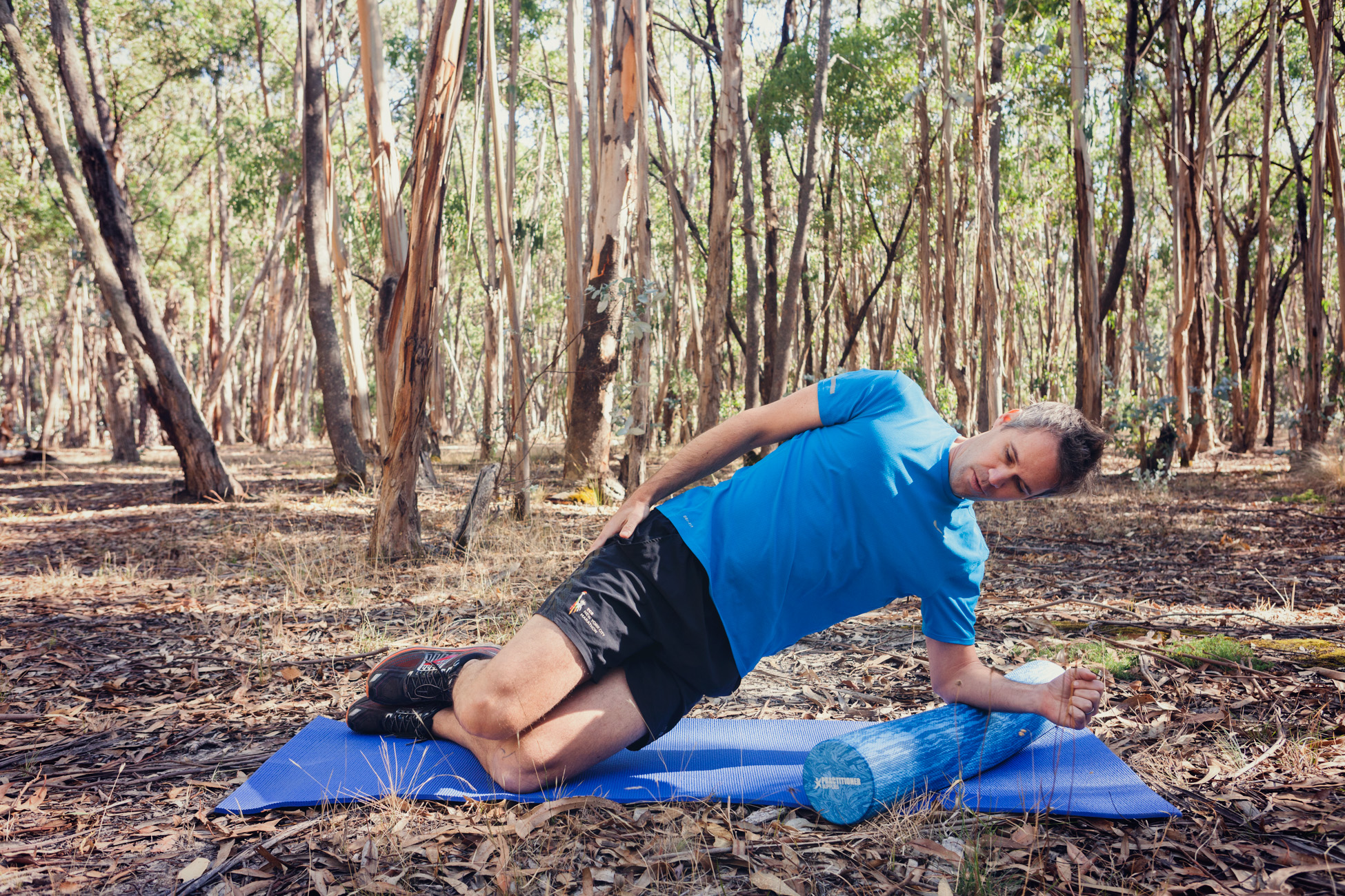 Side-plank   Lie on your side and push into a side-plank, either through your knees or feet. Keep breathing while holding for 15-30 seconds.  Then repeat on the other side.  Keep the shoulders, hips and knees in the same alignment.  This exercise will help strengthen the small stabiliser muscles in the shoulders.