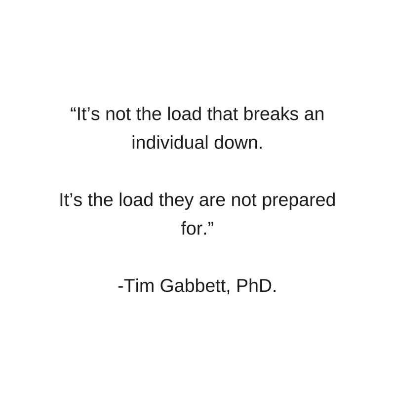 """It's not the load that breaks an individual down. It's the load they are not prepared for."" Tim Gabbett, PhD..png"