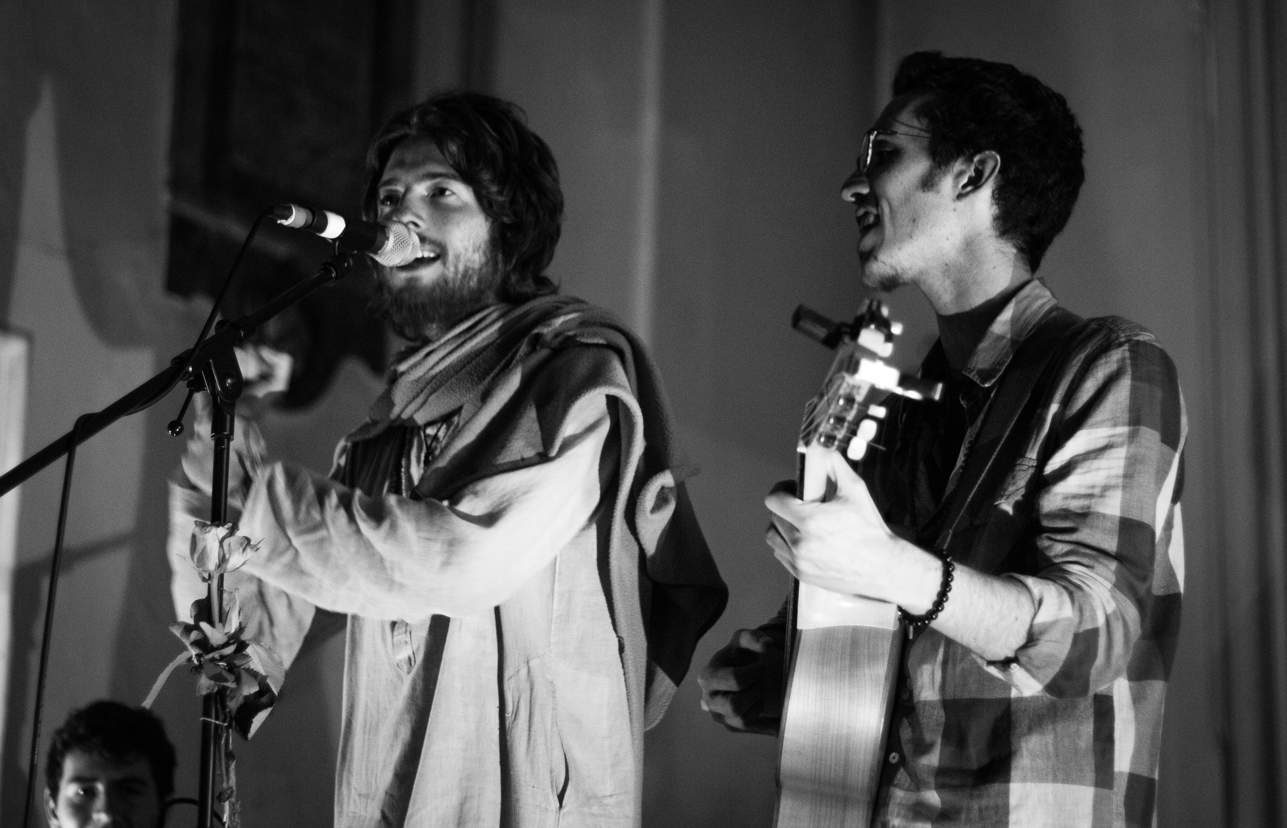 Sam Garrett, left, and Roaman, right, performing at the St Pancras Old Church on Nov 28